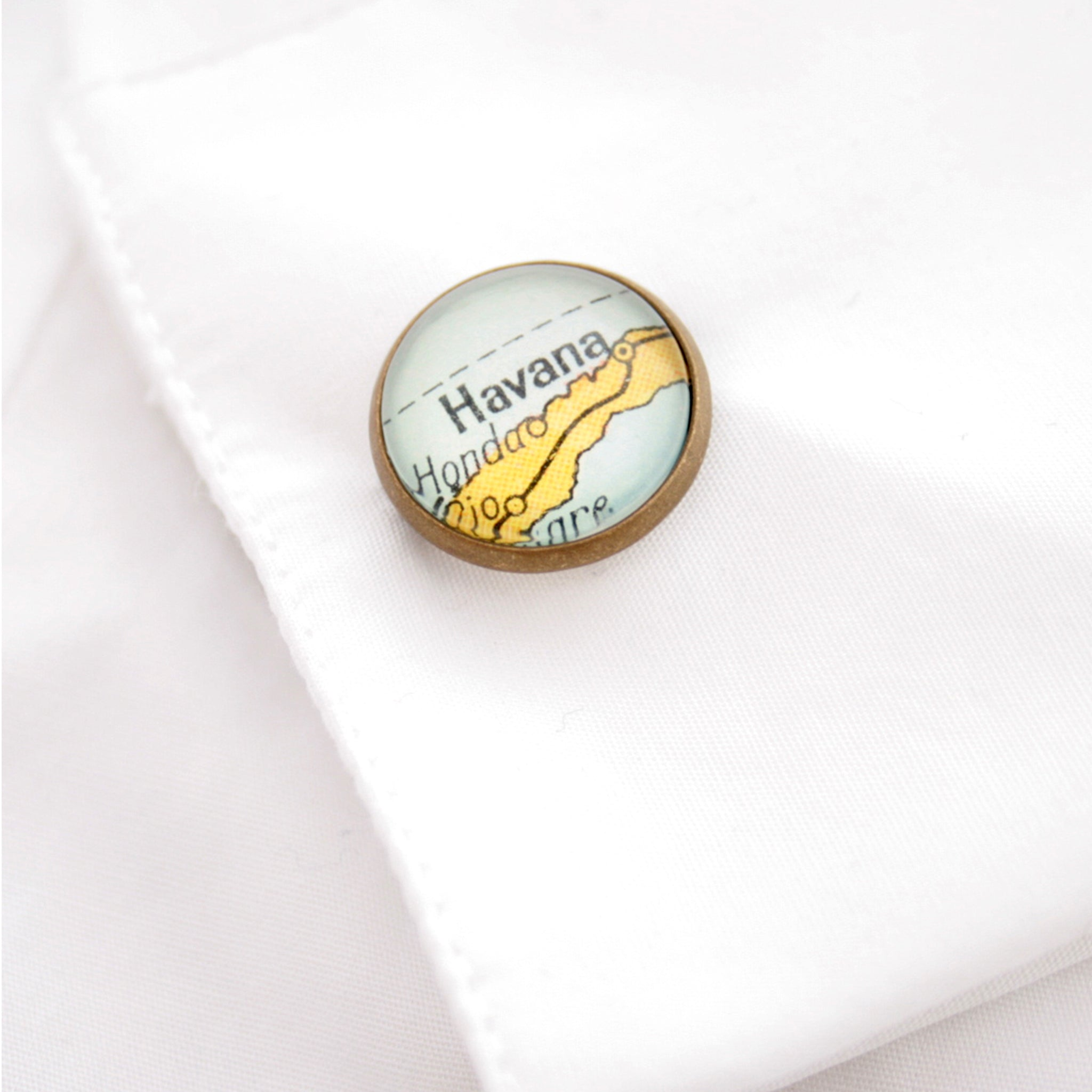 Personalised map cufflink in antique bronze color featuring map of Havana in a shirt cuff