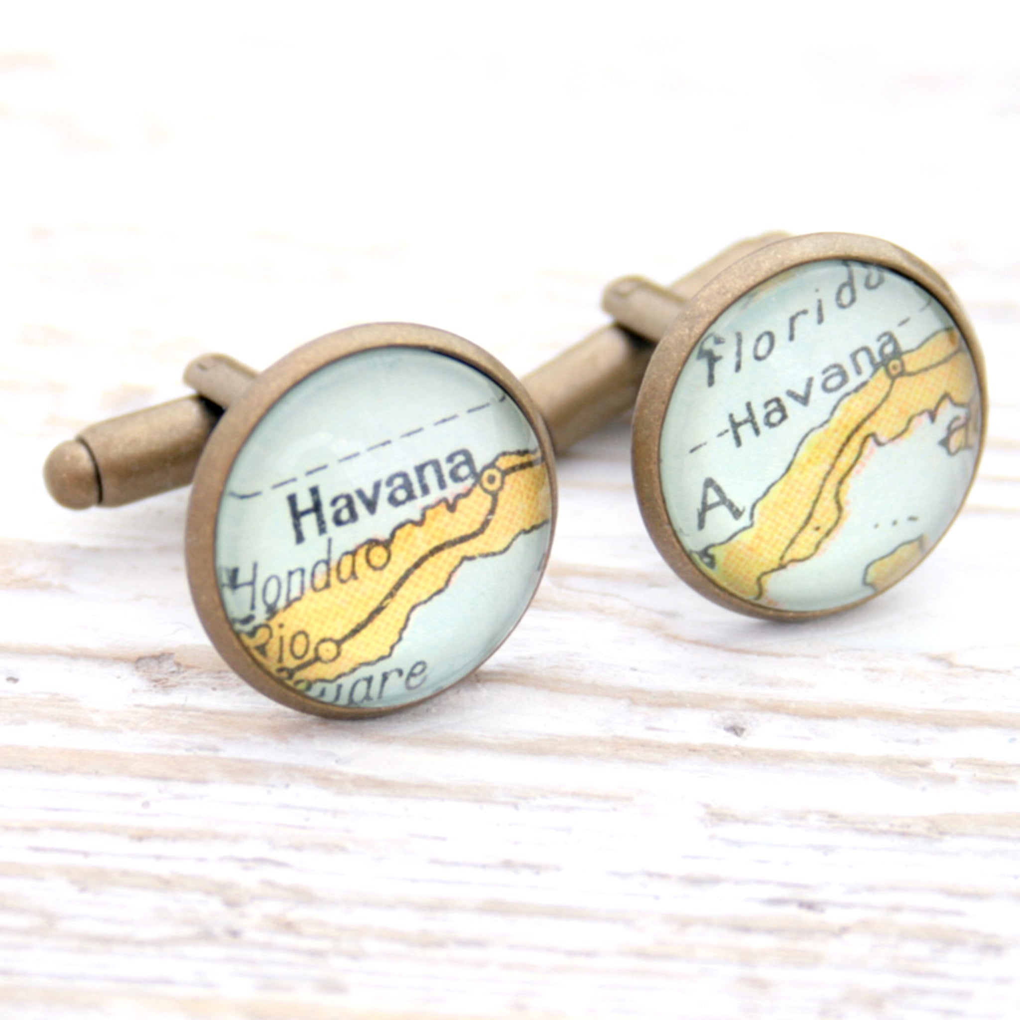 Personalised map cufflinks in antique bronze color featuring maps of Havana