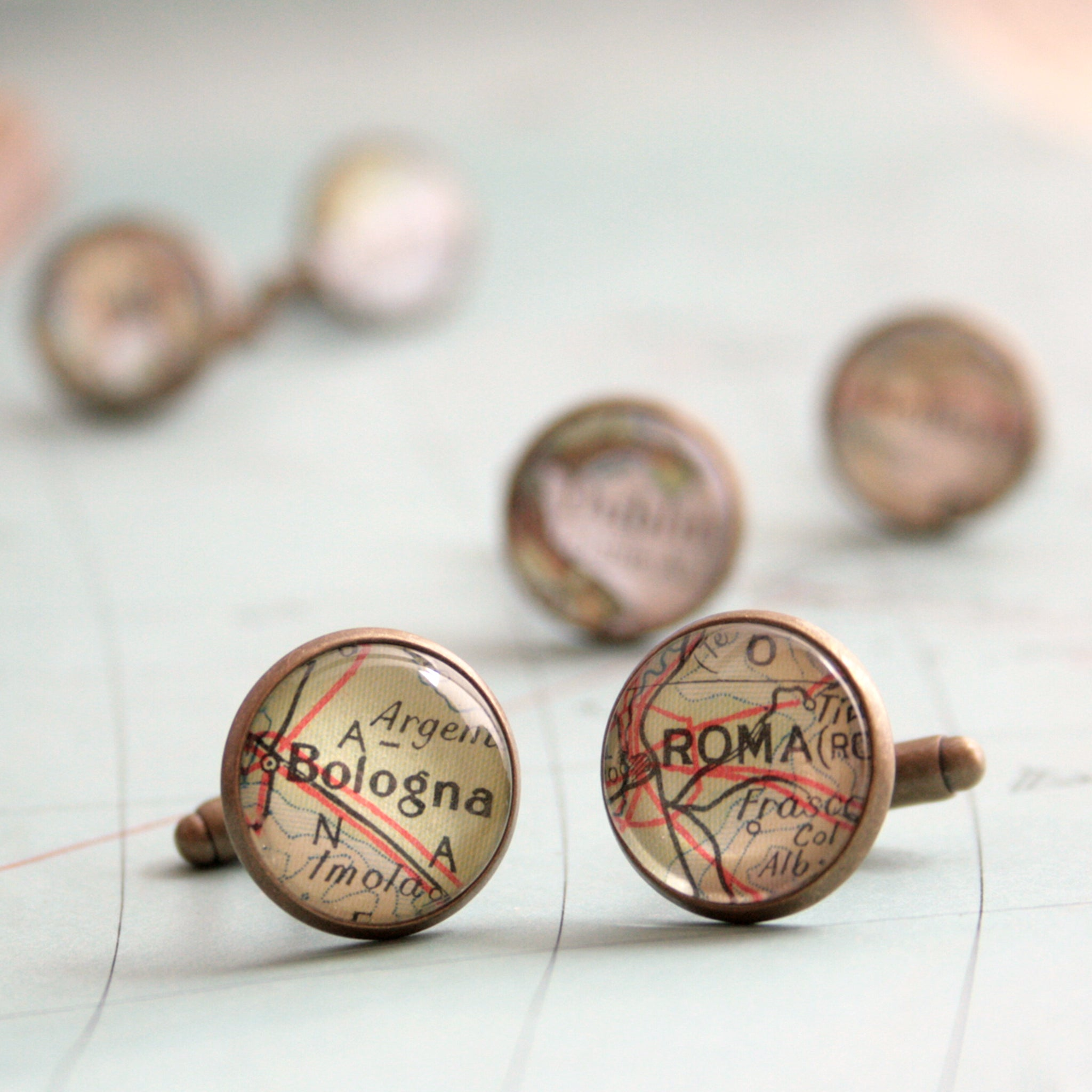 Personalised map cufflinks in antique bronze color featuring custom maps