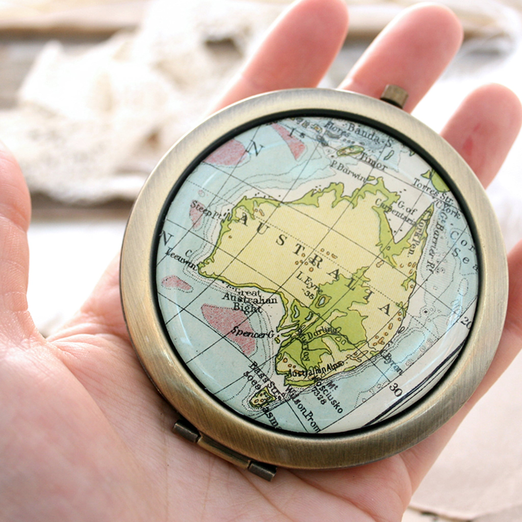 Hold in hand Personalised Compact Mirror in Antique Bronze color featuring map of Australia