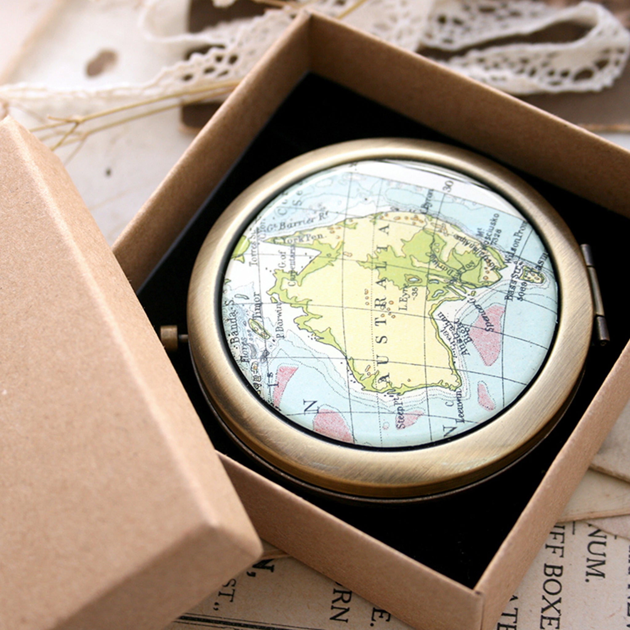 Personalised Compact Mirror in Antique Bronze color featuring map of Australia in presentation box