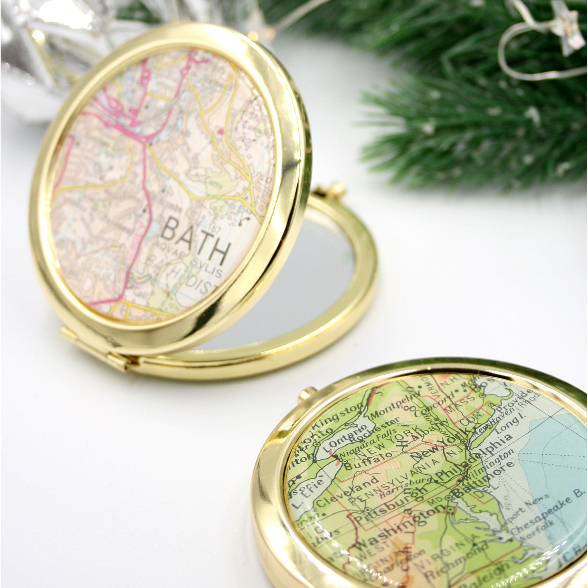 Personalised Compact Mirror in gold color featuring map of Bristol and New York