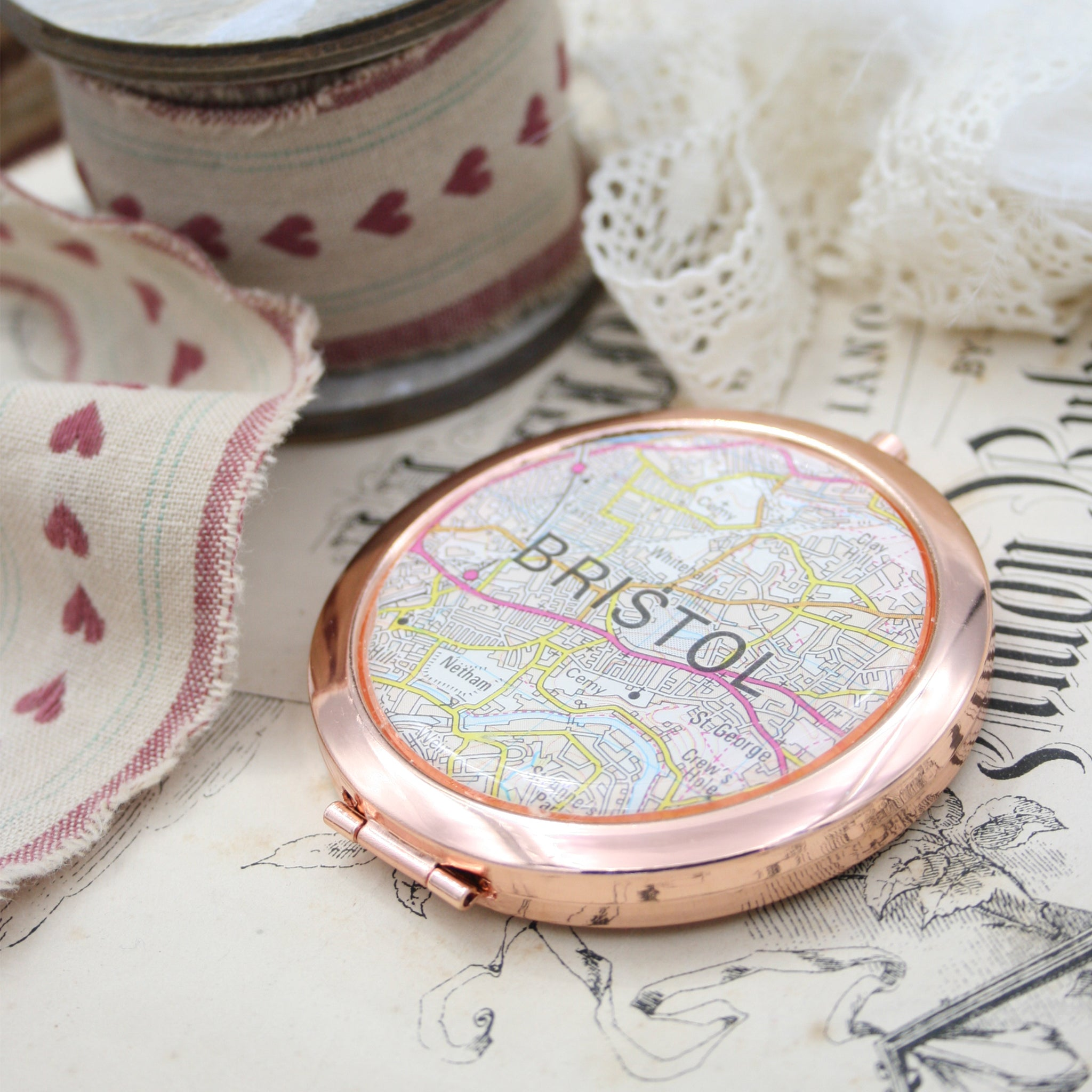 Personalised Compact Mirror in rose gold color featuring map of Bristol
