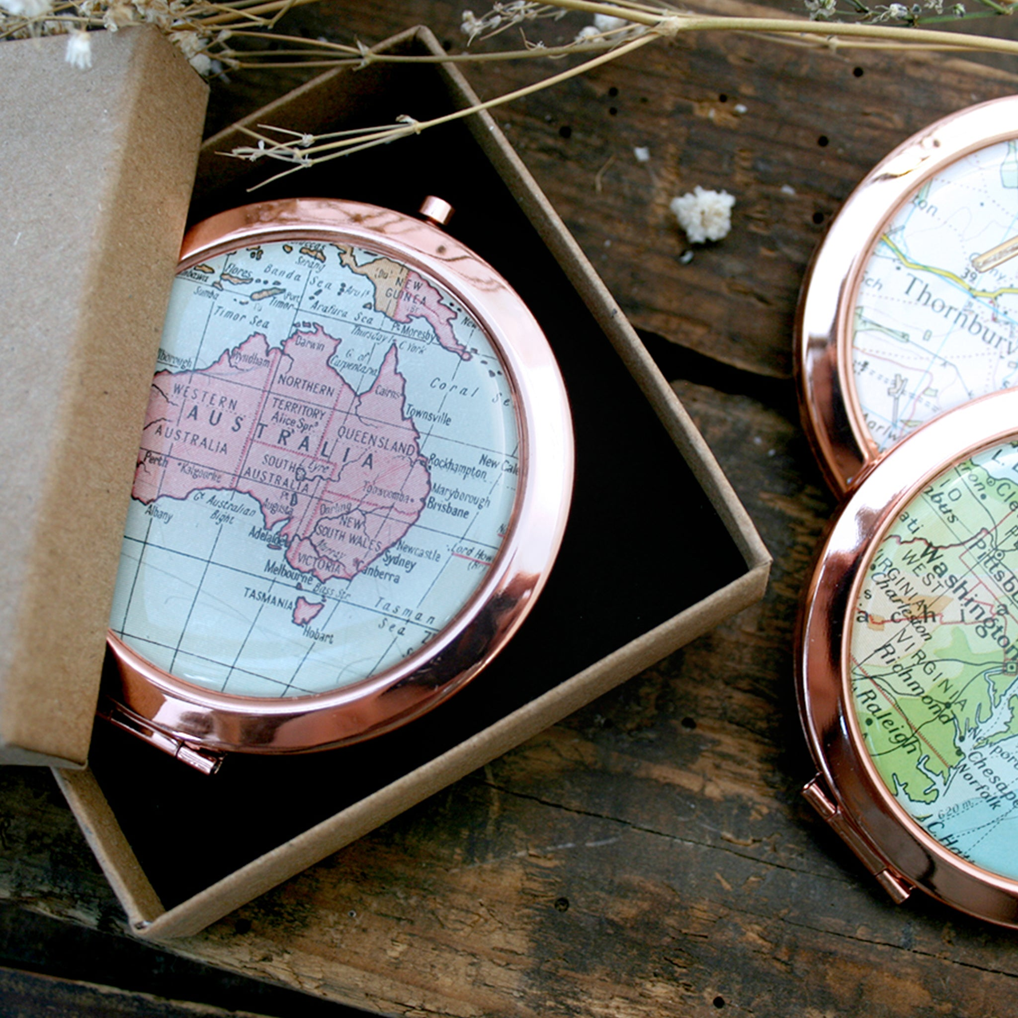 Personalised Compact Mirror in rose gold color featuring map of Australia in a box