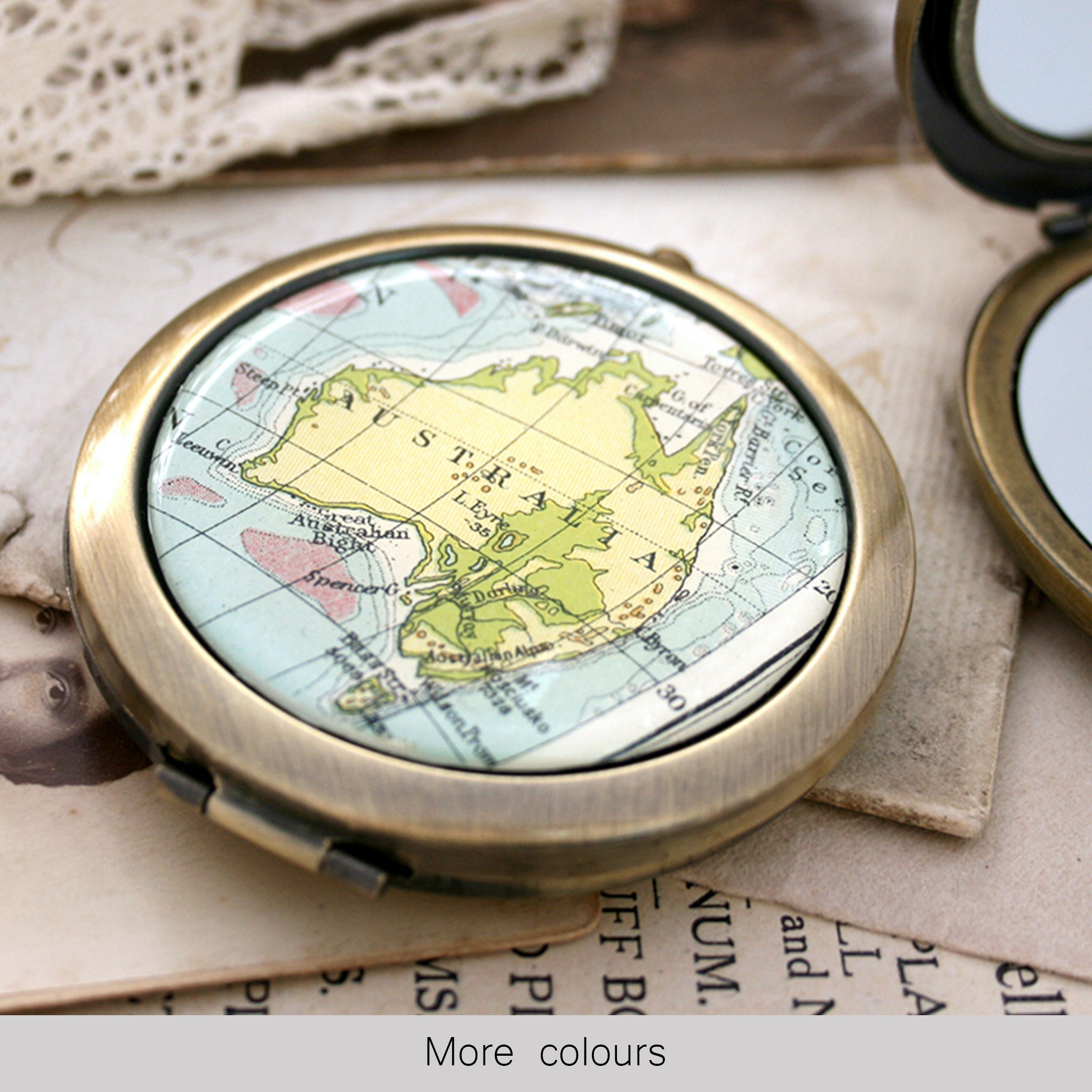 Personalised Compact Mirror in Antique Bronze color featuring map of Australia