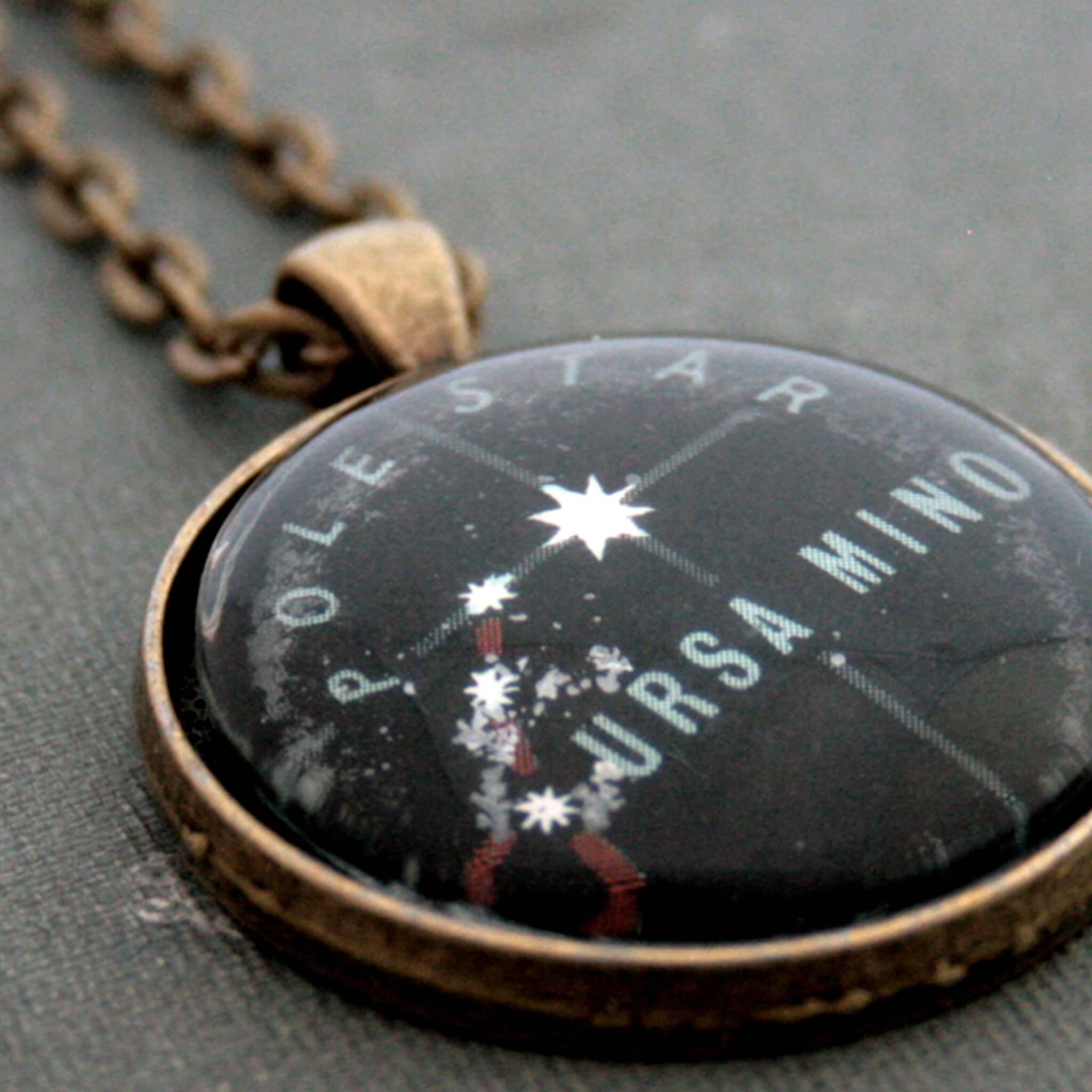 Antique bronze pendant necklace with Ursa Minor constellation and Polaris star