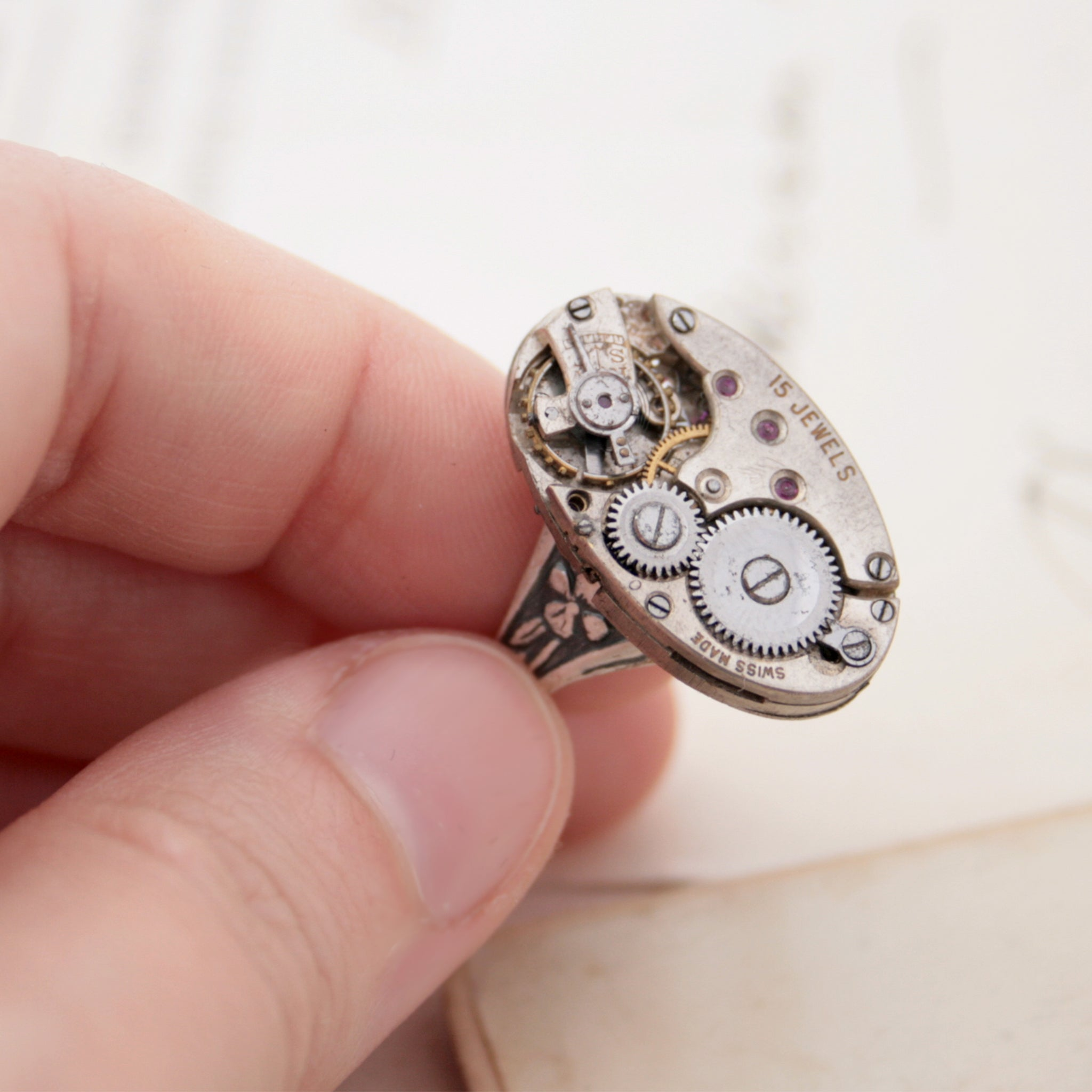 Oval Cocktail Ring with Steampunk Watch