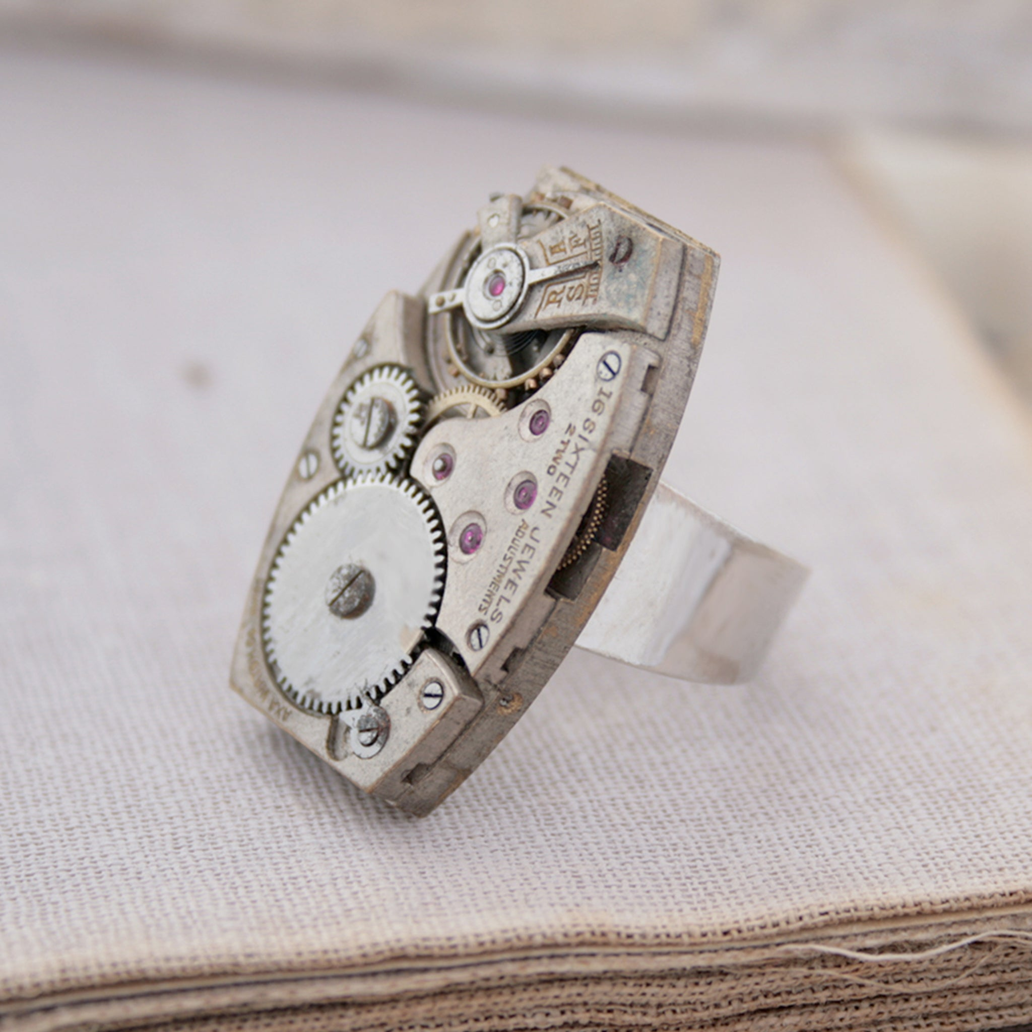 Steampunk Cocktail Ring made of vintage watch movement
