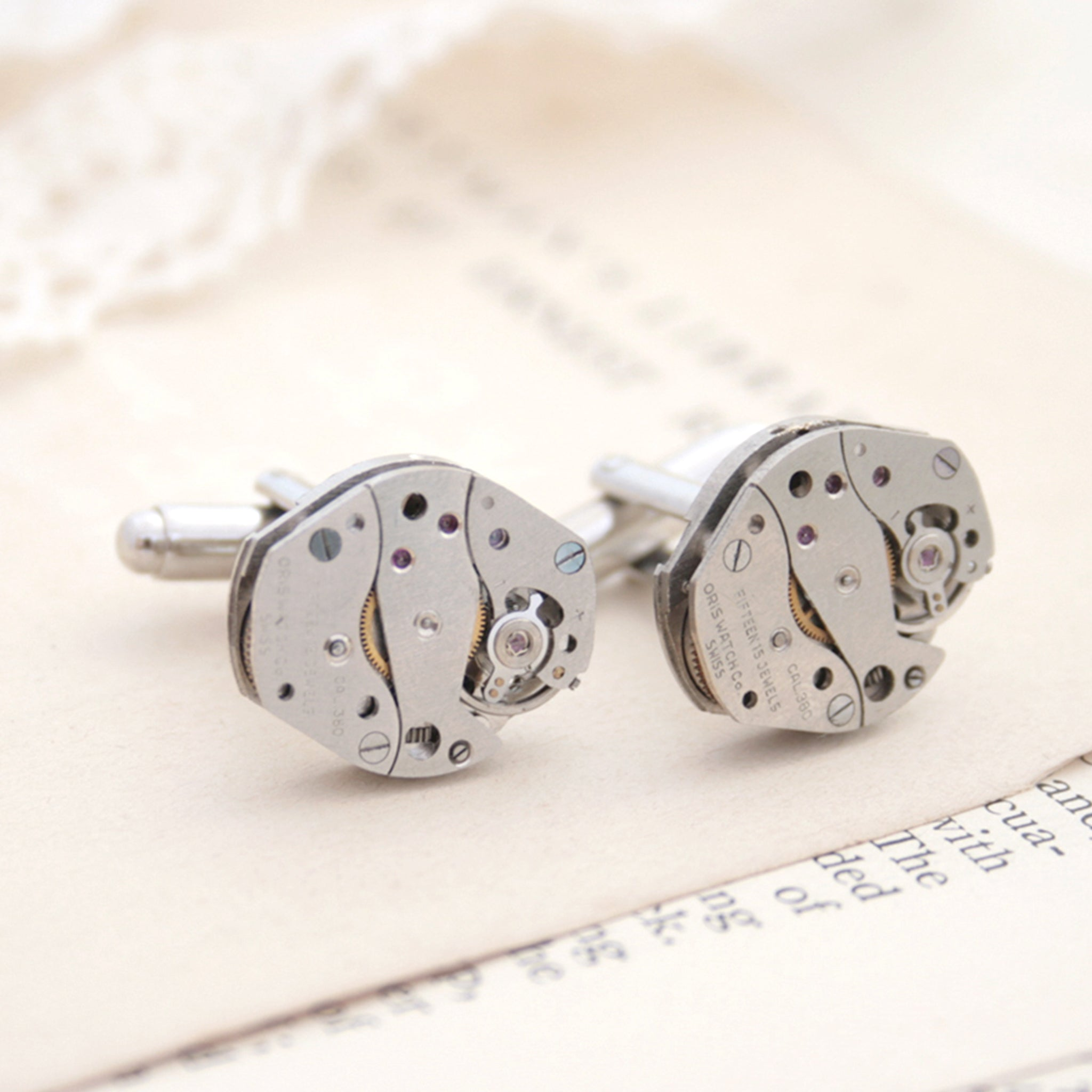 cool watch cufflinks for men featuring antique movements