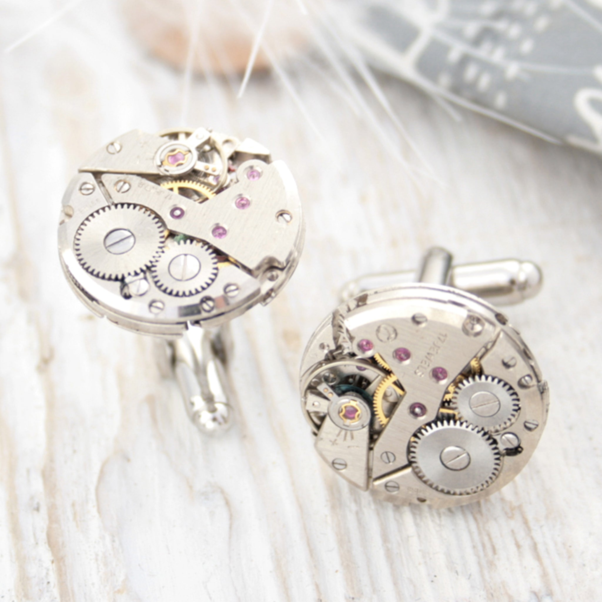 cool cufflinks for watch lovers featuring antique watch movements