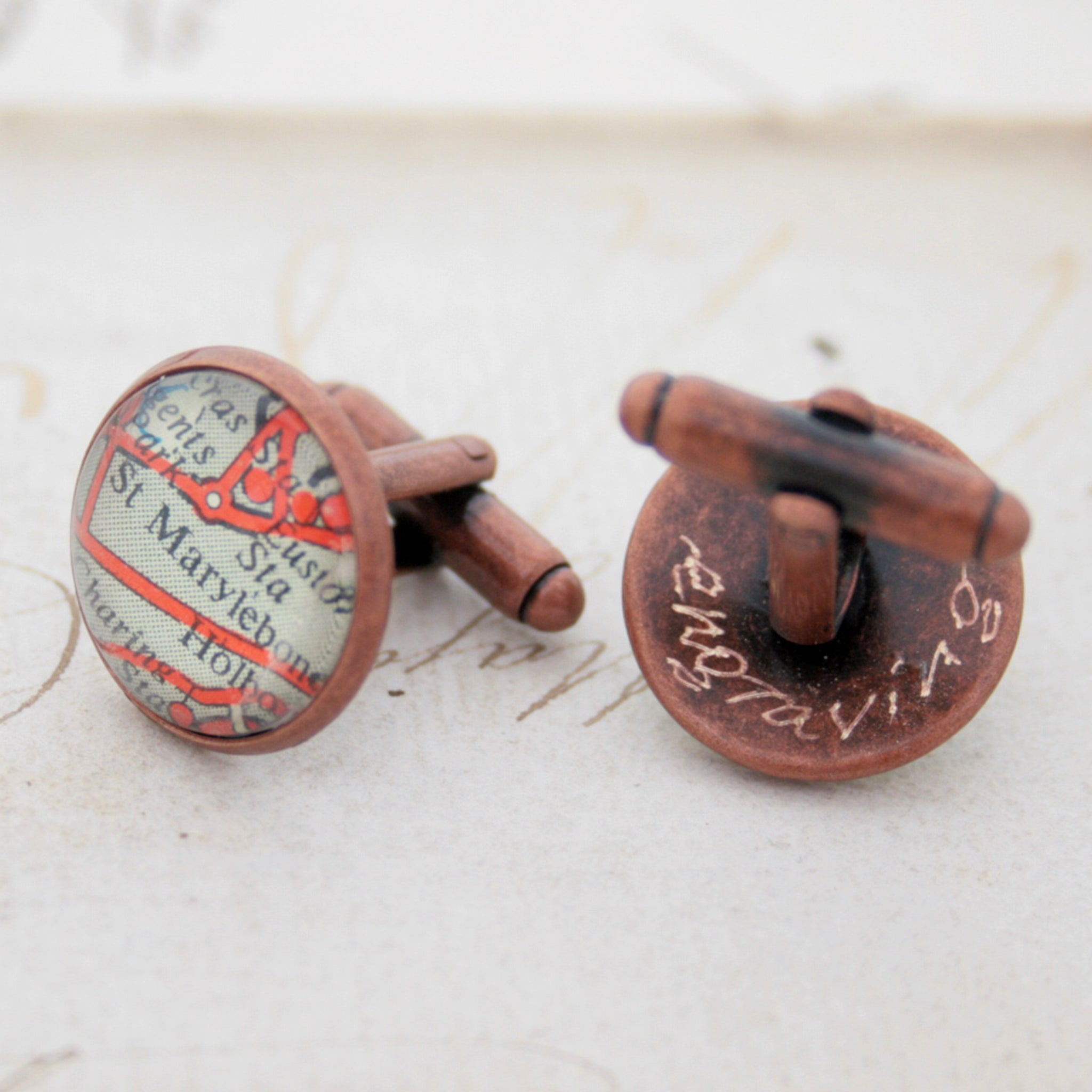 engraved cufflinks personalised with map locations in antique copper finish