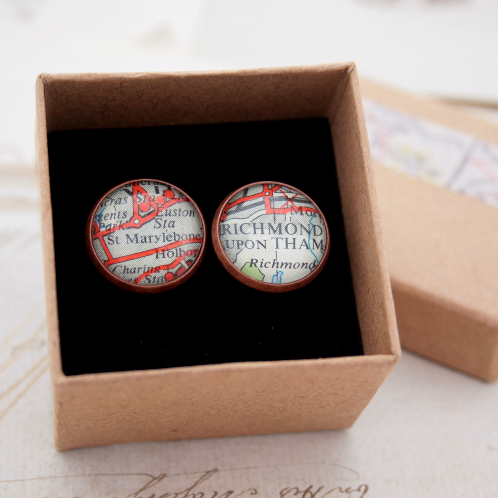 cufflinks personalised with map locations in antique copper finish in a box