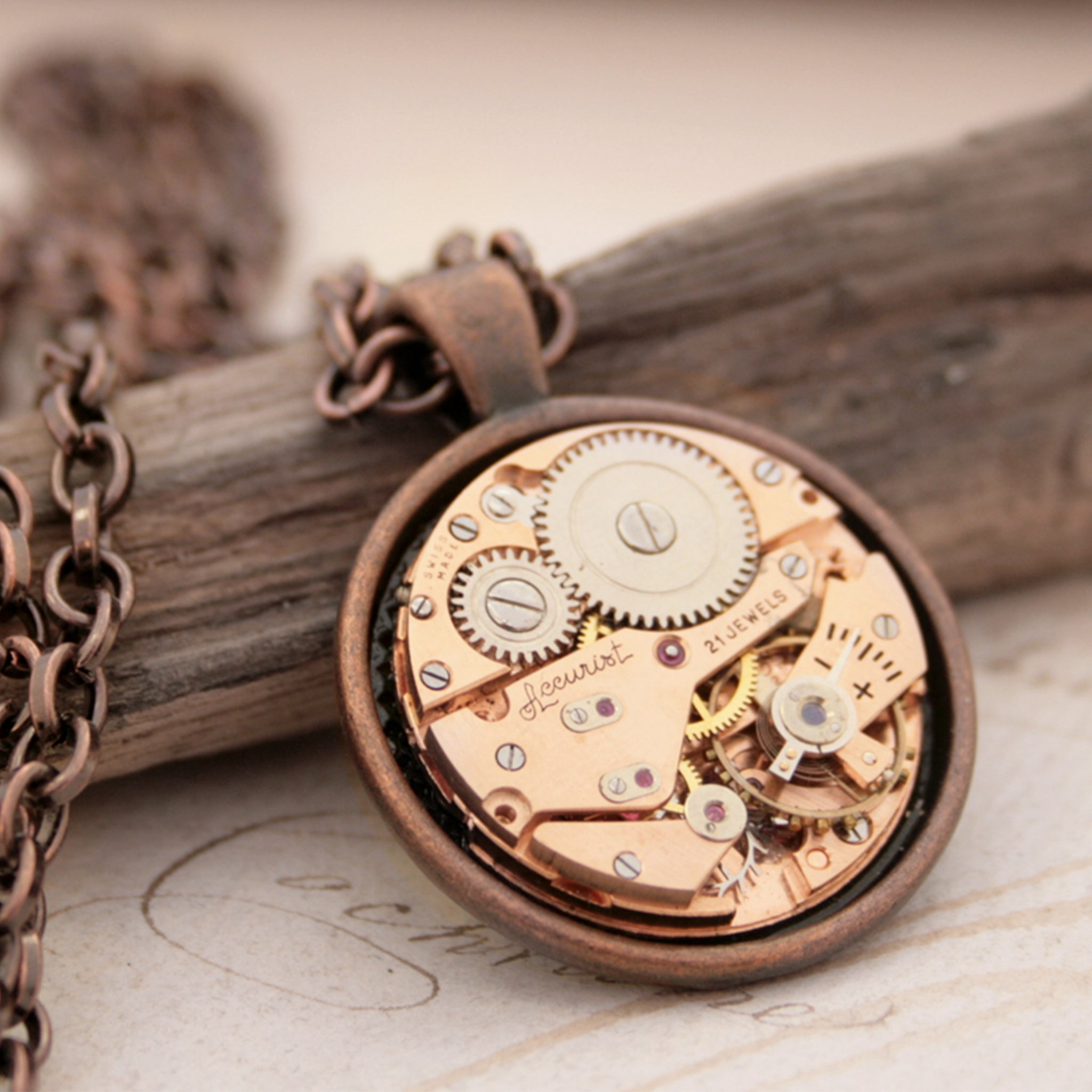 Copper Pendant Necklace in Steampunk Style with Watch Mechanism