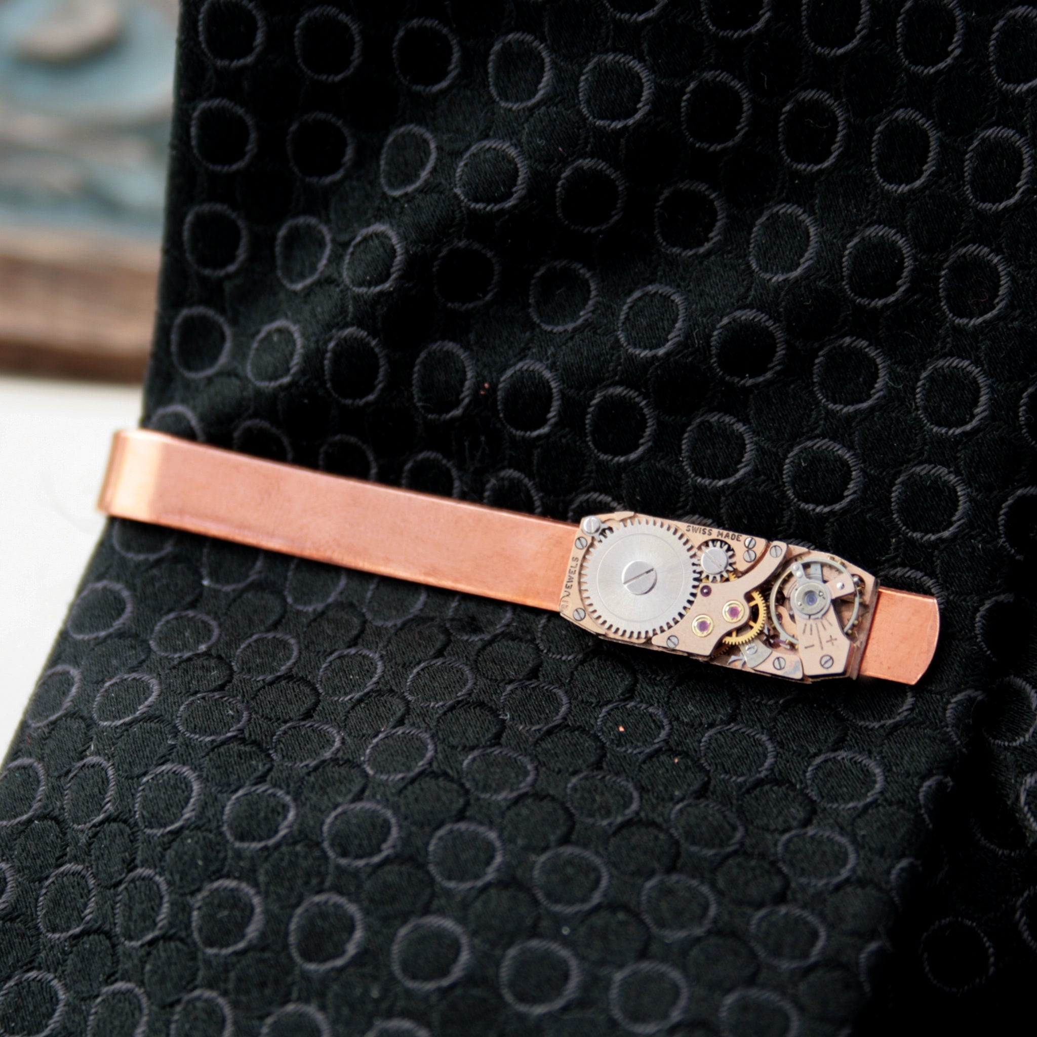Copper Tie Clip with Steampunk Watch Work