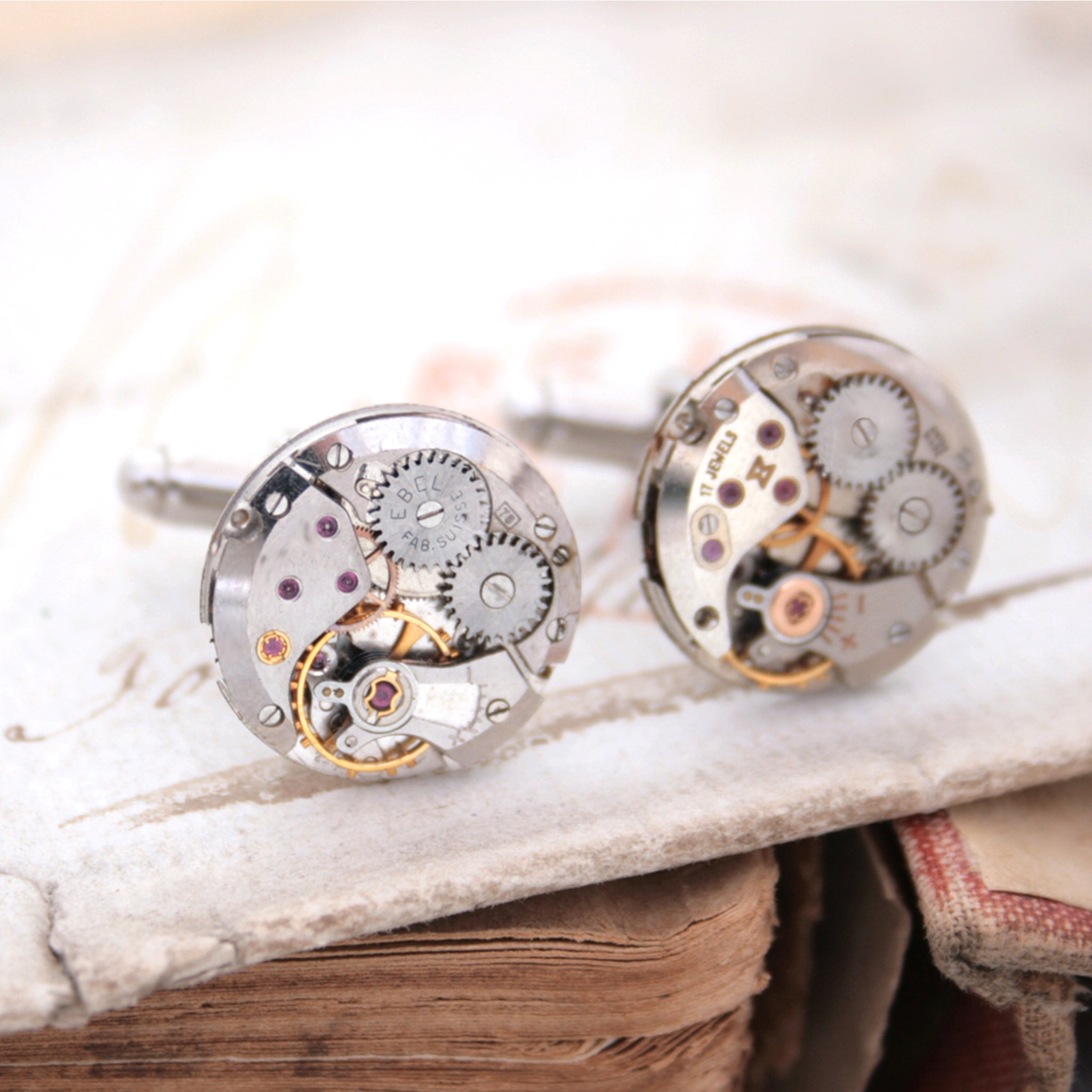 clockwork cufflinks and sets in featuring antique watch movements