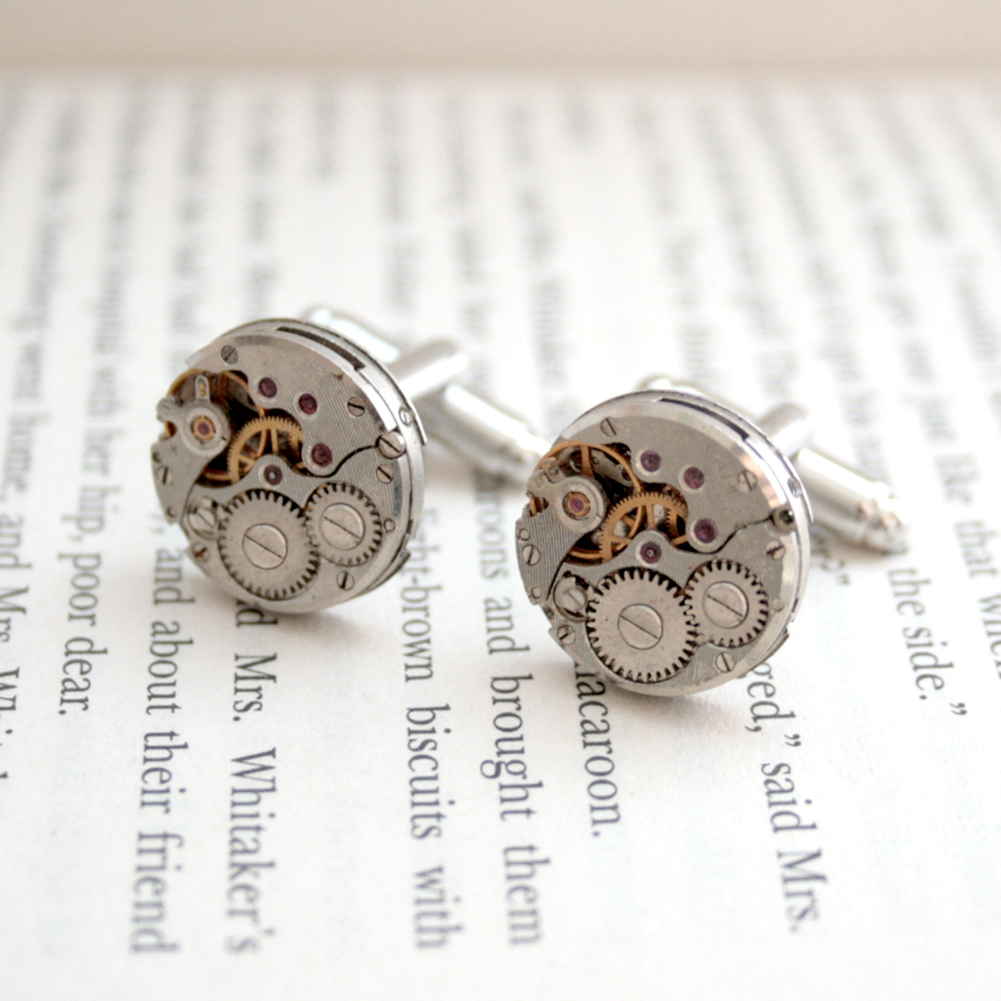 Cufflinks Set featuring antique watch movements in steampunk style