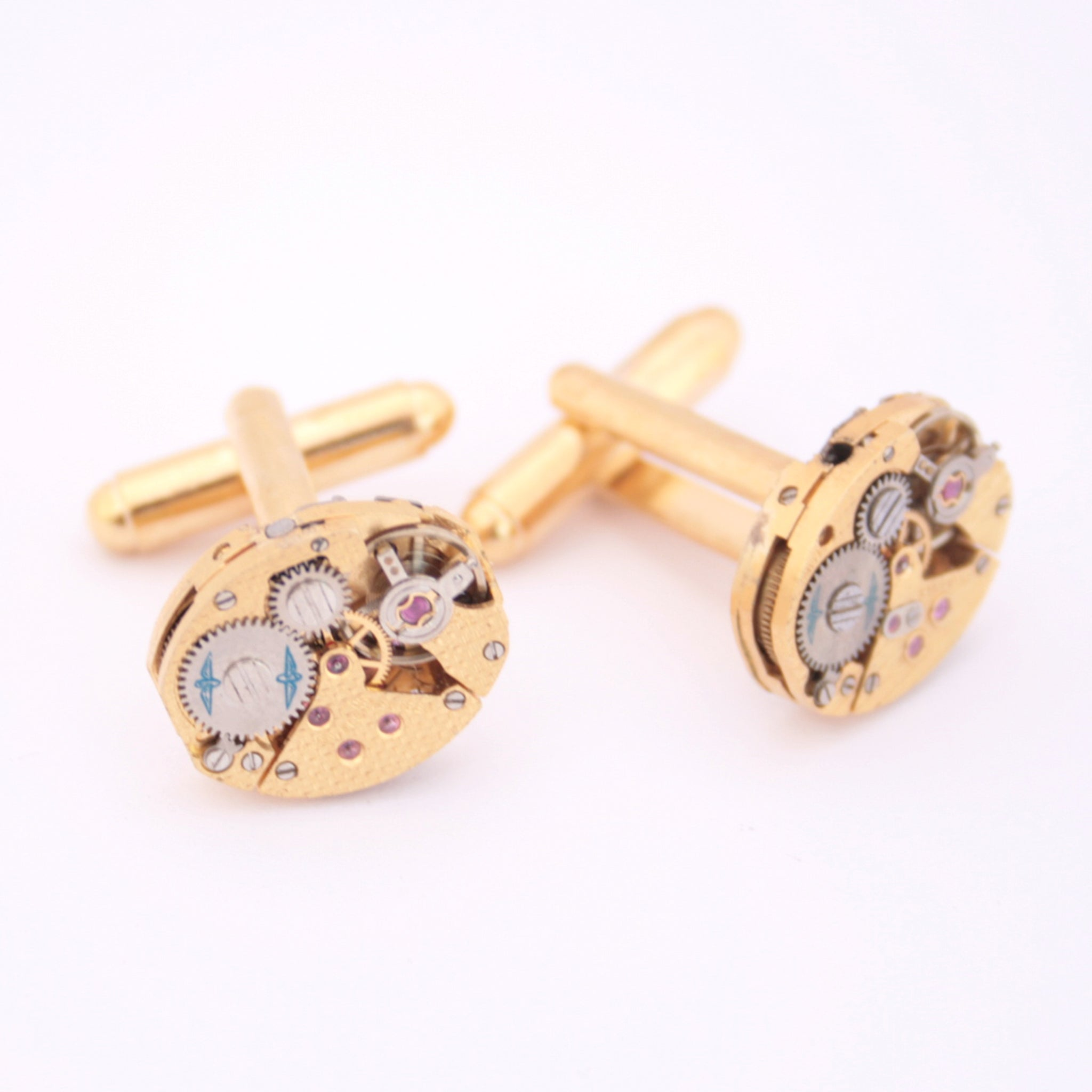 Gold Rotary Watch Cufflinks made of clockworks