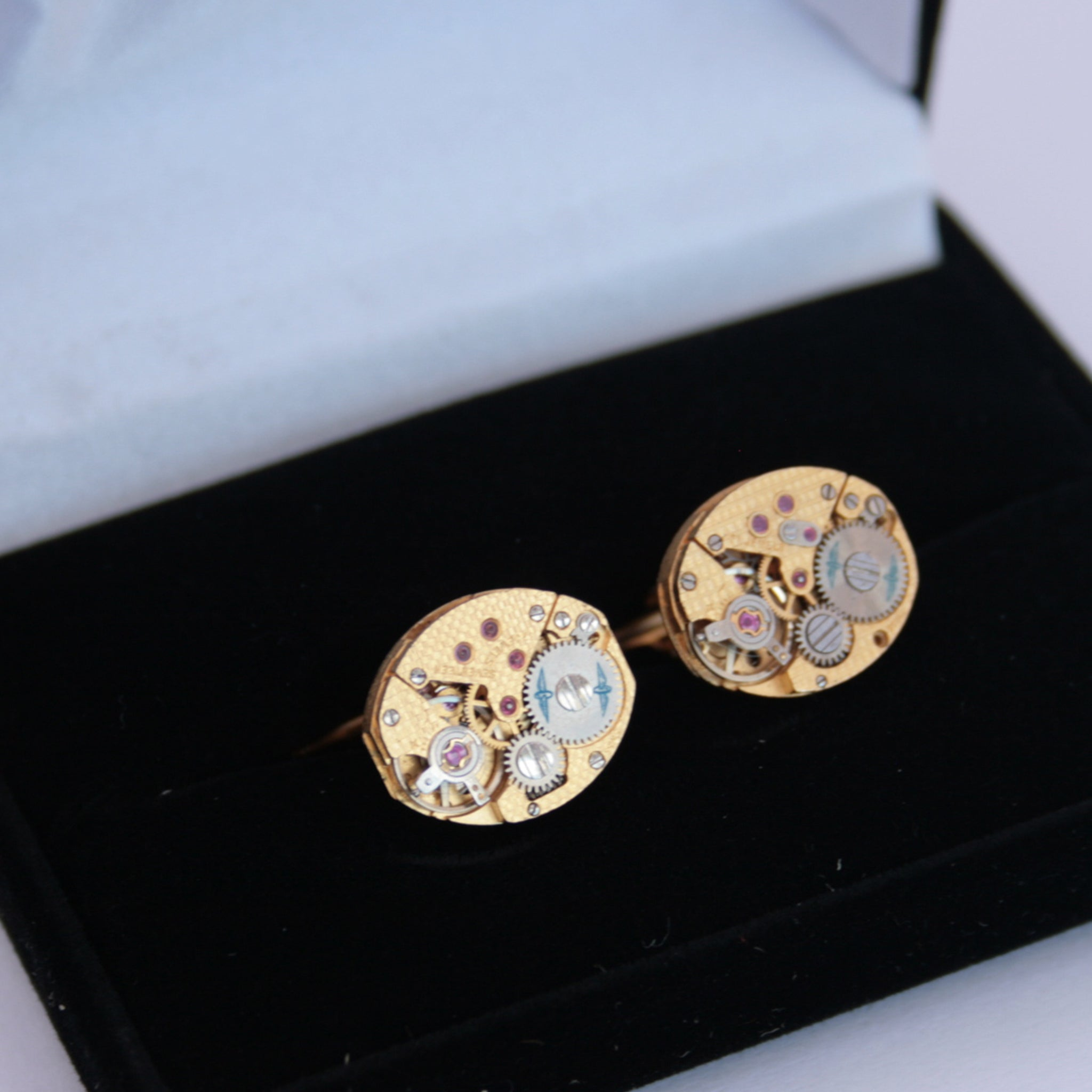Gold Rotary Watch Cufflinks made of clockworks in a box