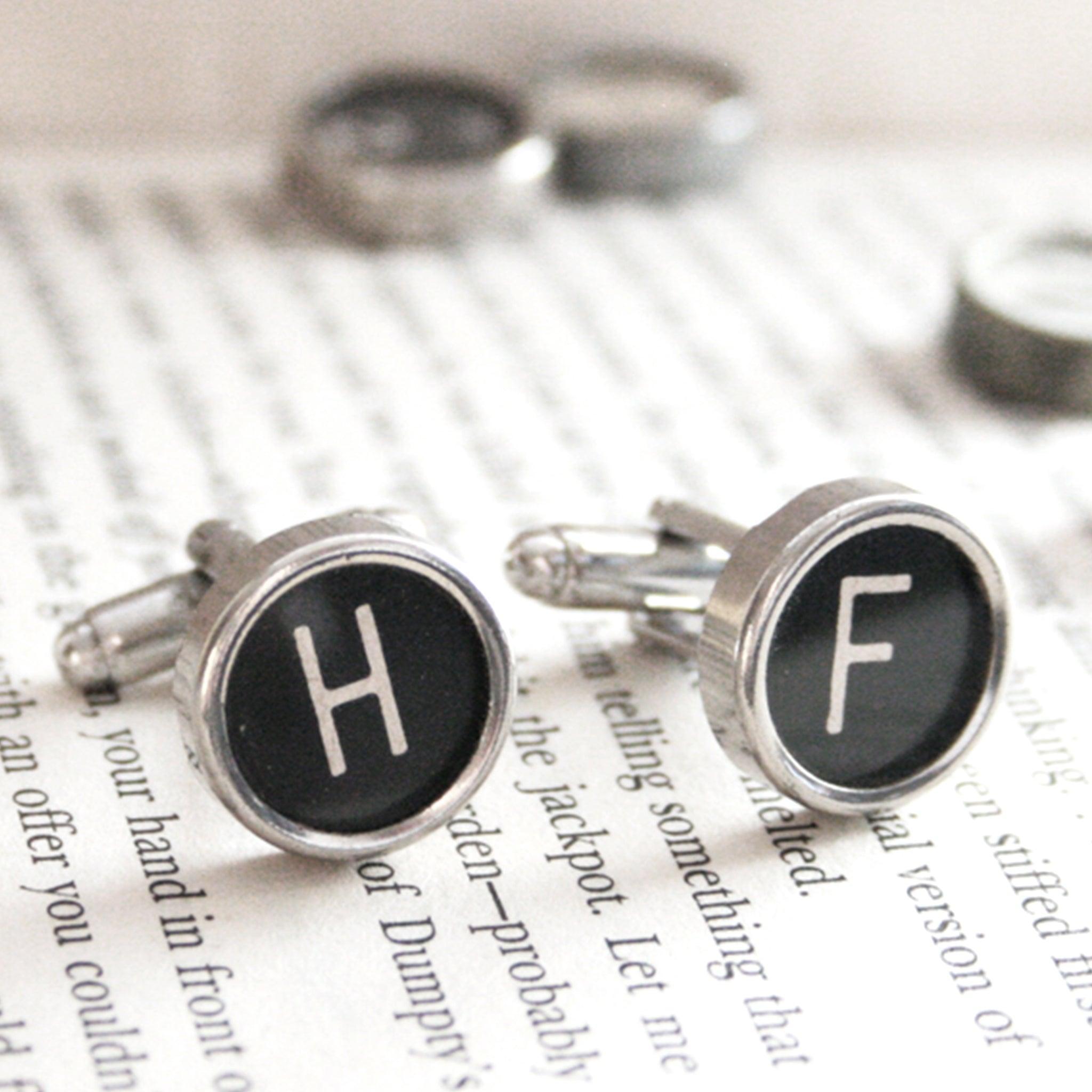Black Personalised cufflinks with initials made of real typewriter keys H and F