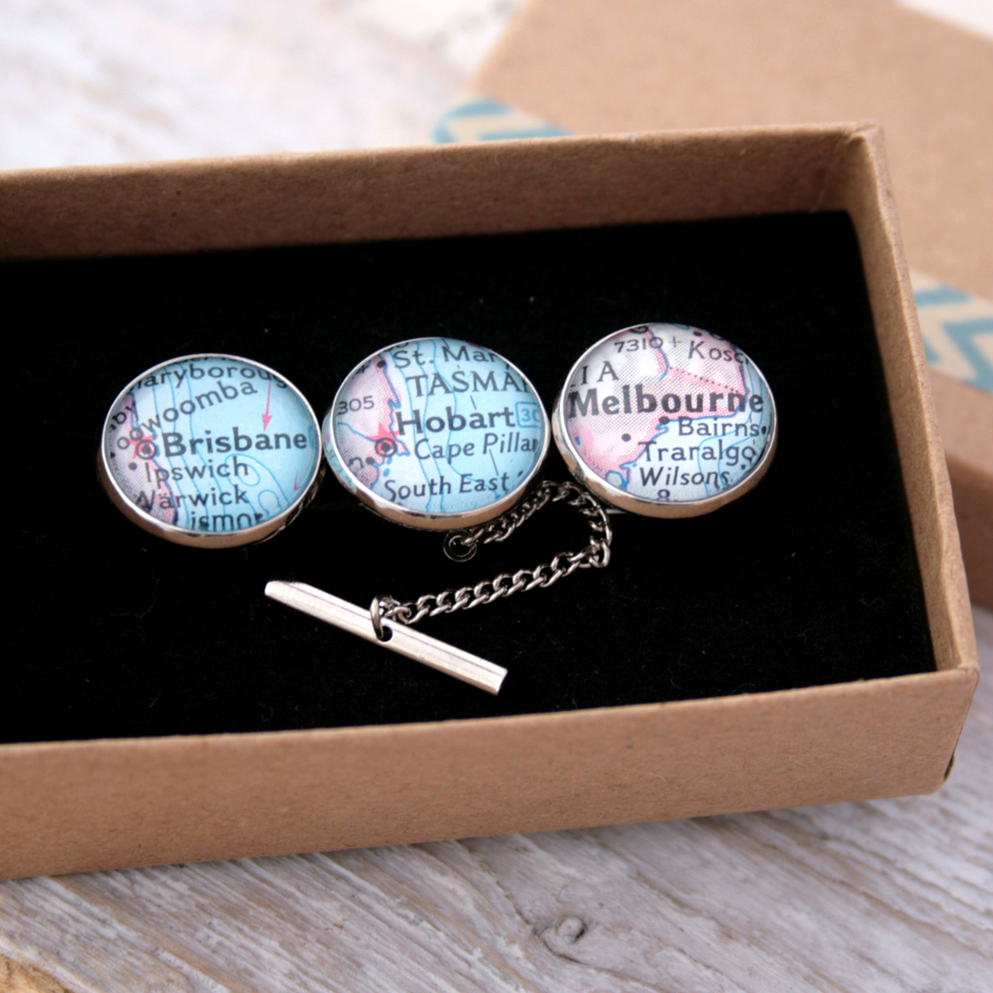 Personalised Map Cufflinks and Tie Tack in silver featuring Hobart, Brisbane and Melbourne in a box