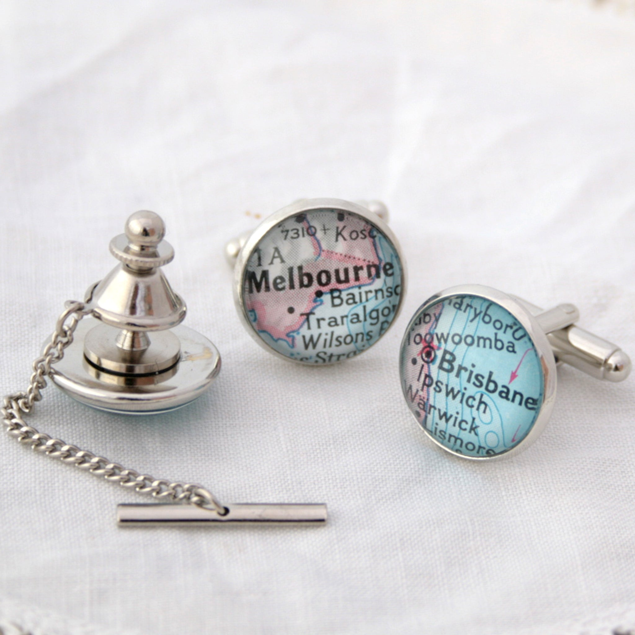 Personalised Map Cufflinks and Tie Tack in silver colour featuring Hobart, Brisbane and Melbourne