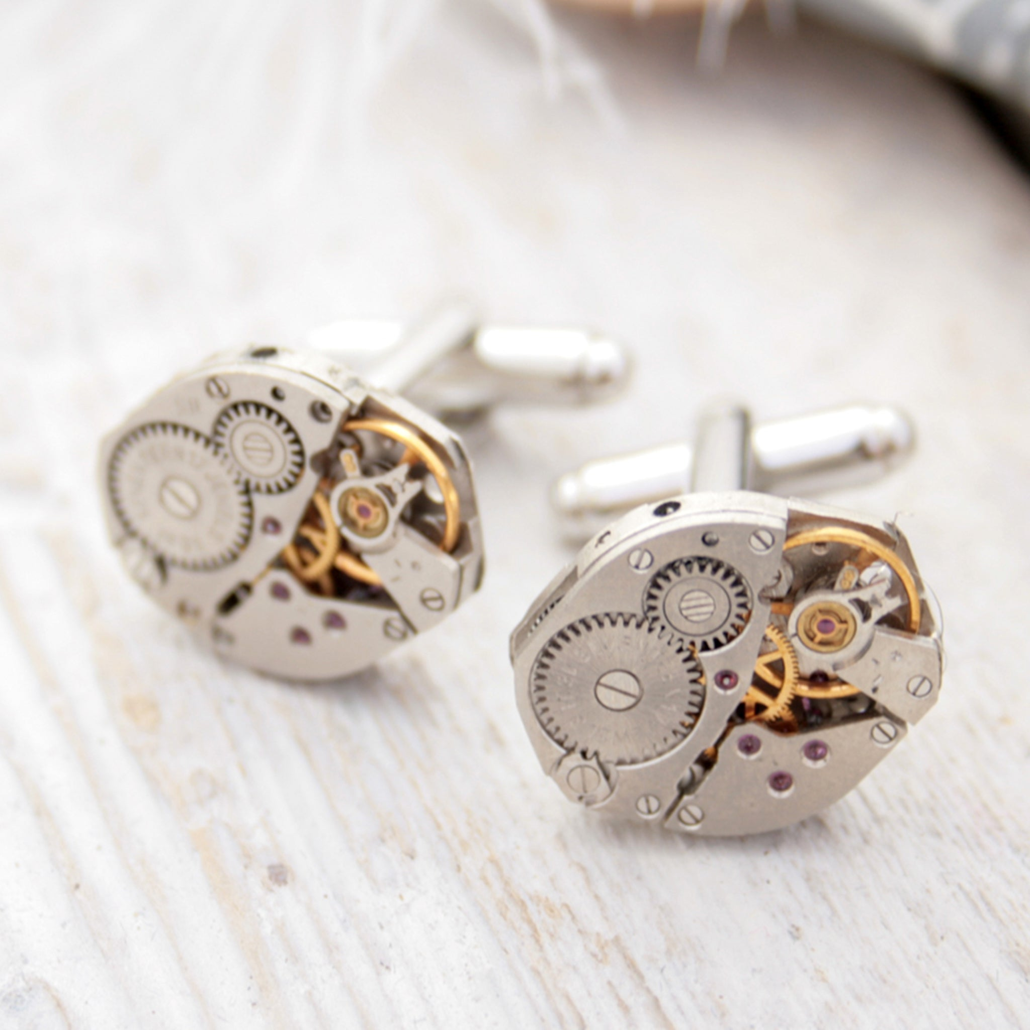 steampunk cufflinks for men featuring antique watch movements
