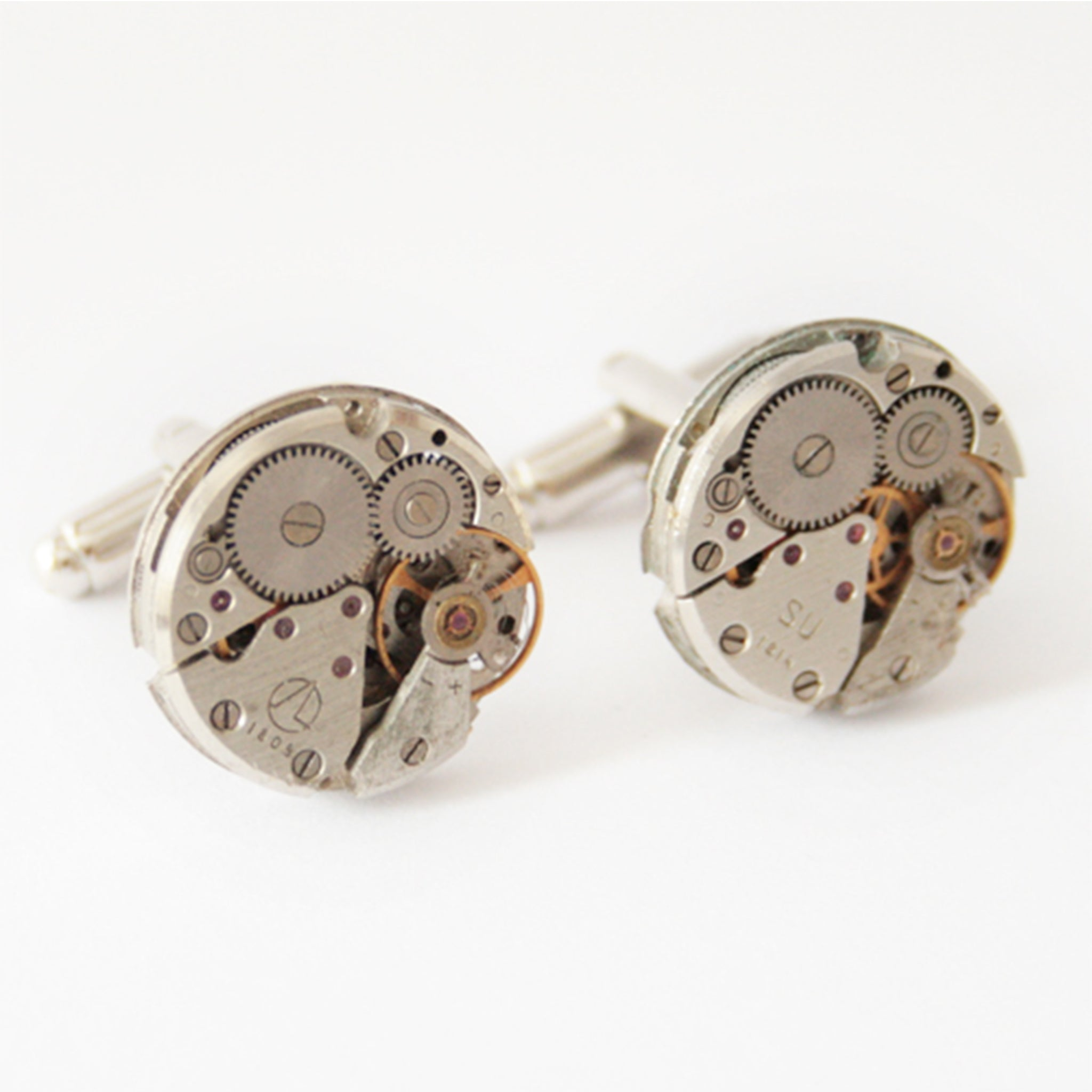 Steampunk Cufflinks for Men made of real watches
