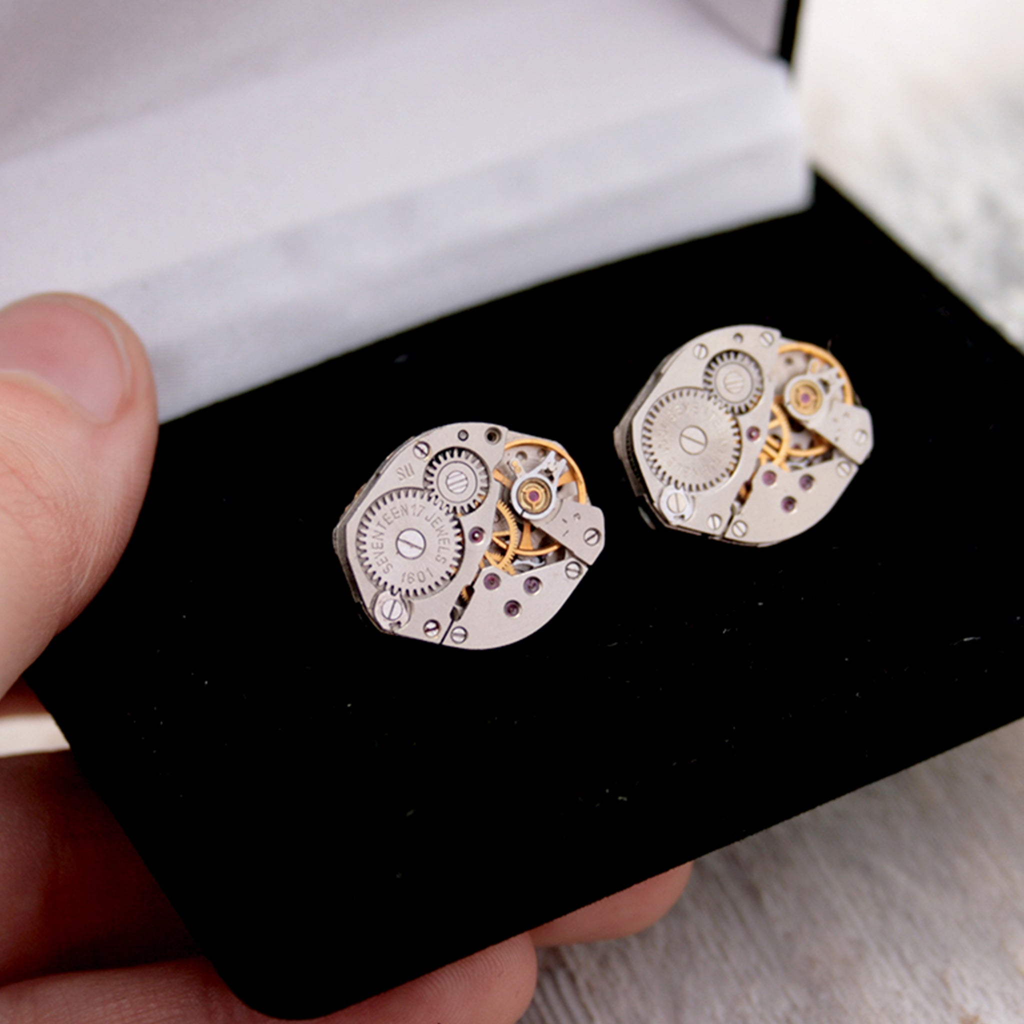 steampunk cufflinks for men featuring antique watch movements in black velour box