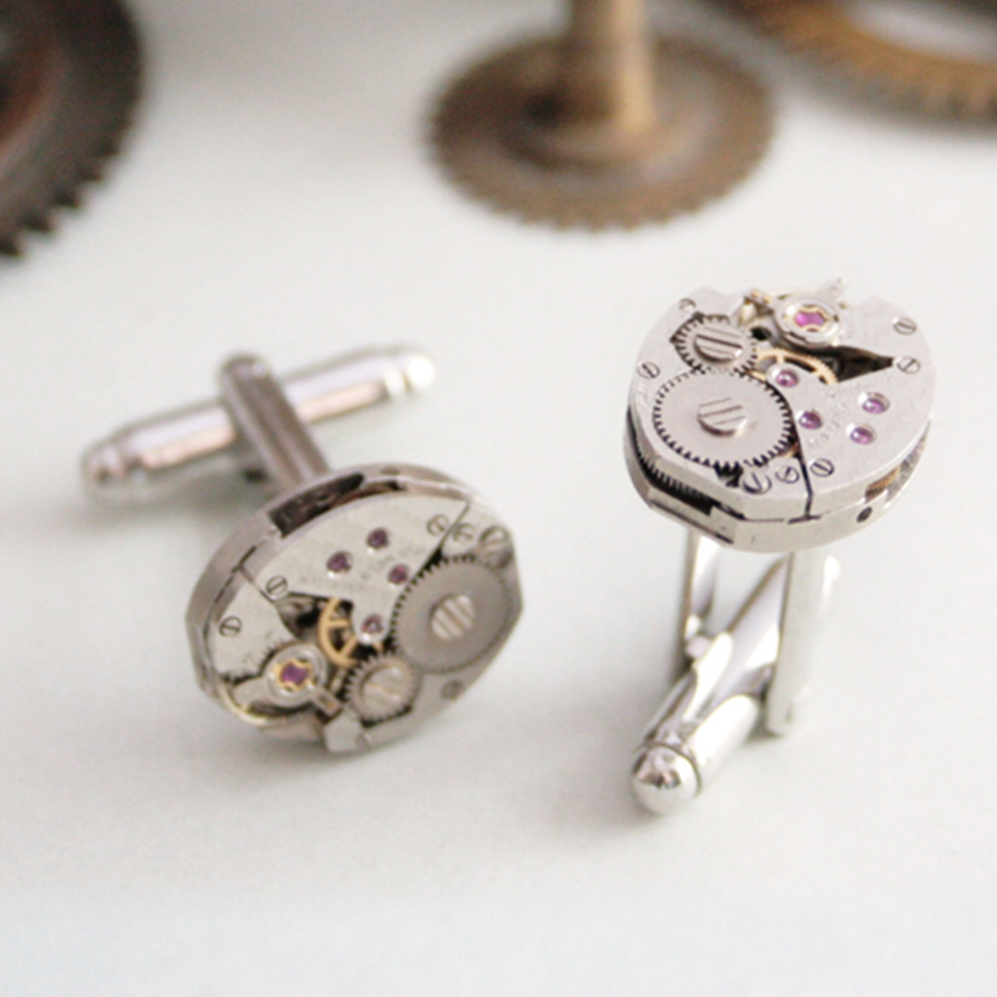 Fish scale pattern watch movements as cool womens cufflinks