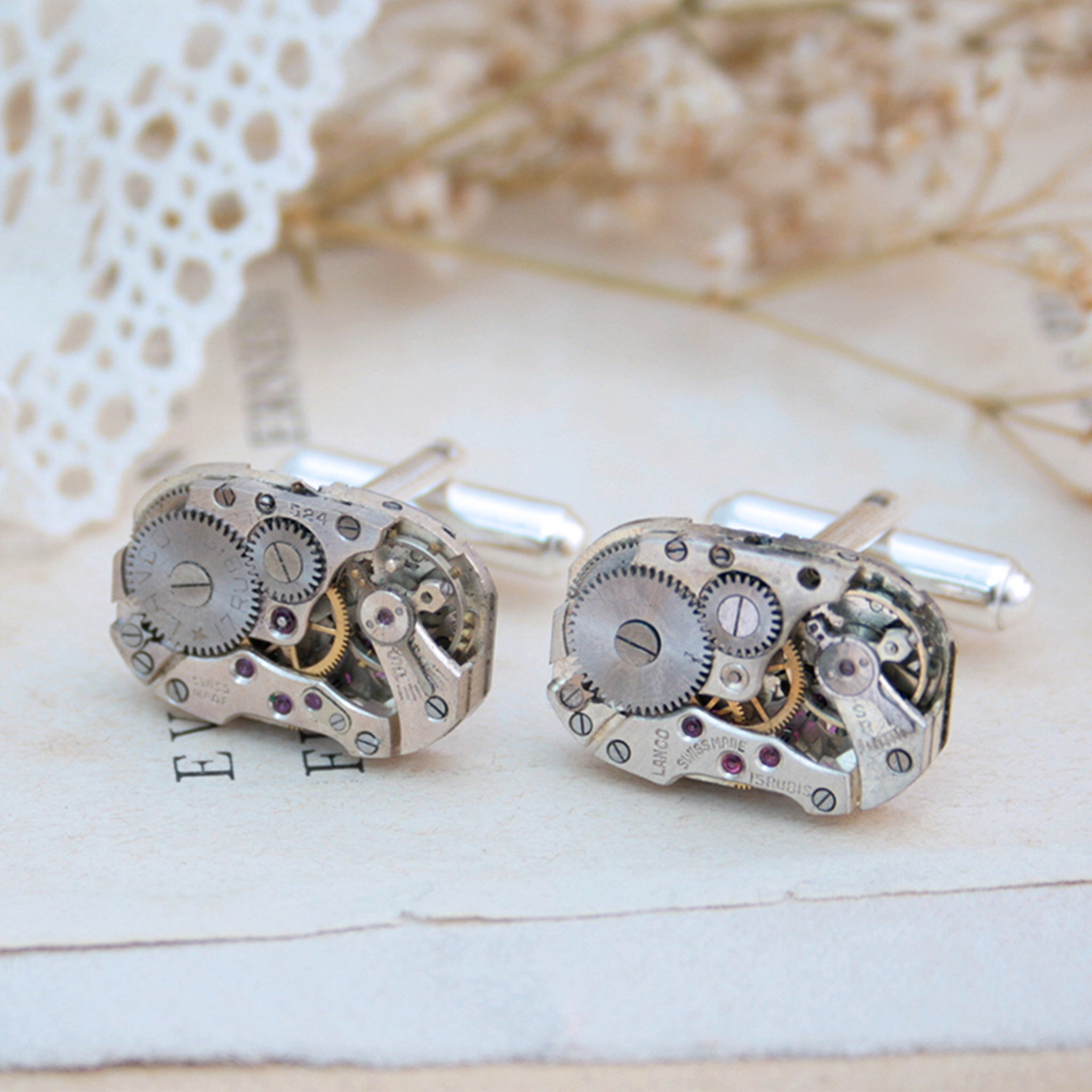 Cufflinks in Steampunk Style made of watch movements
