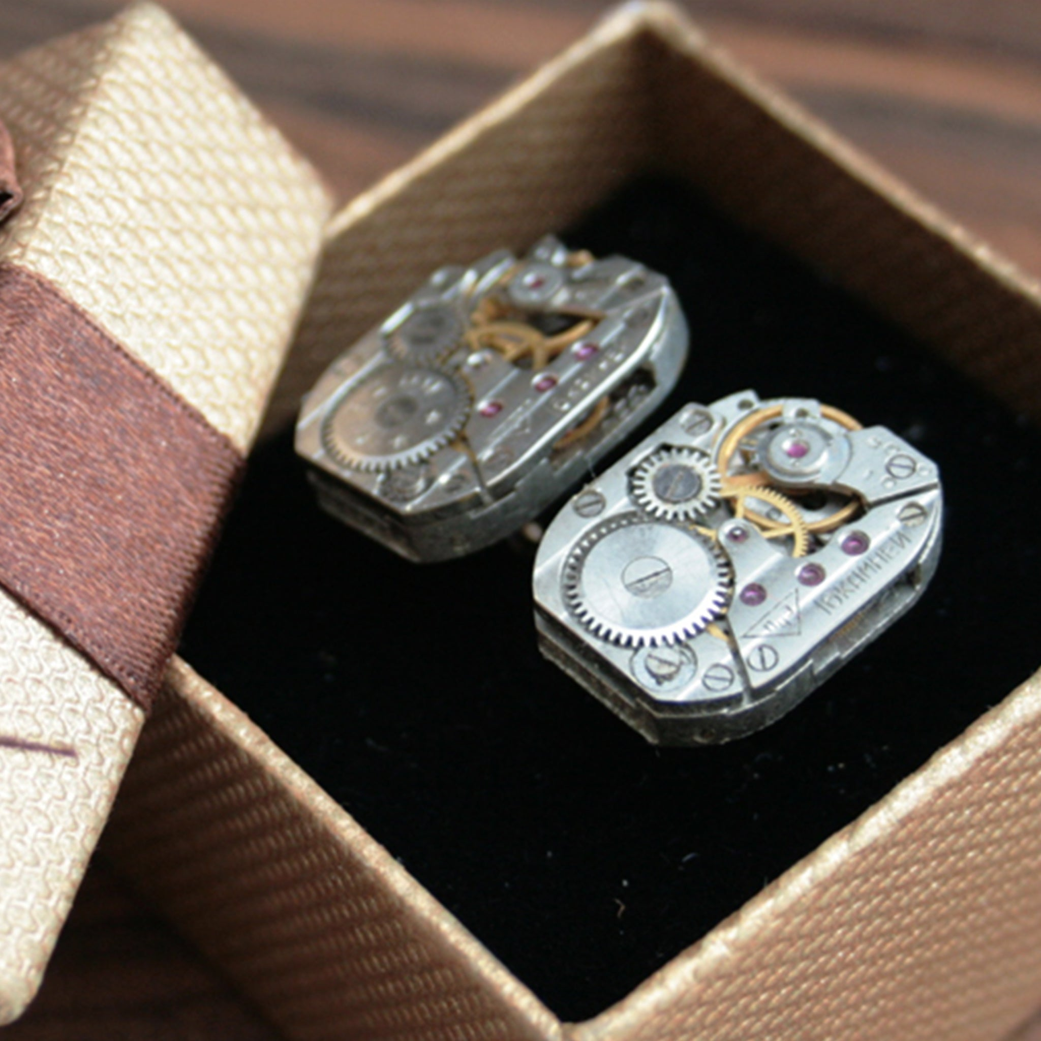 steampunk cufflinks for men featuring antique watch movements in lovely brown box