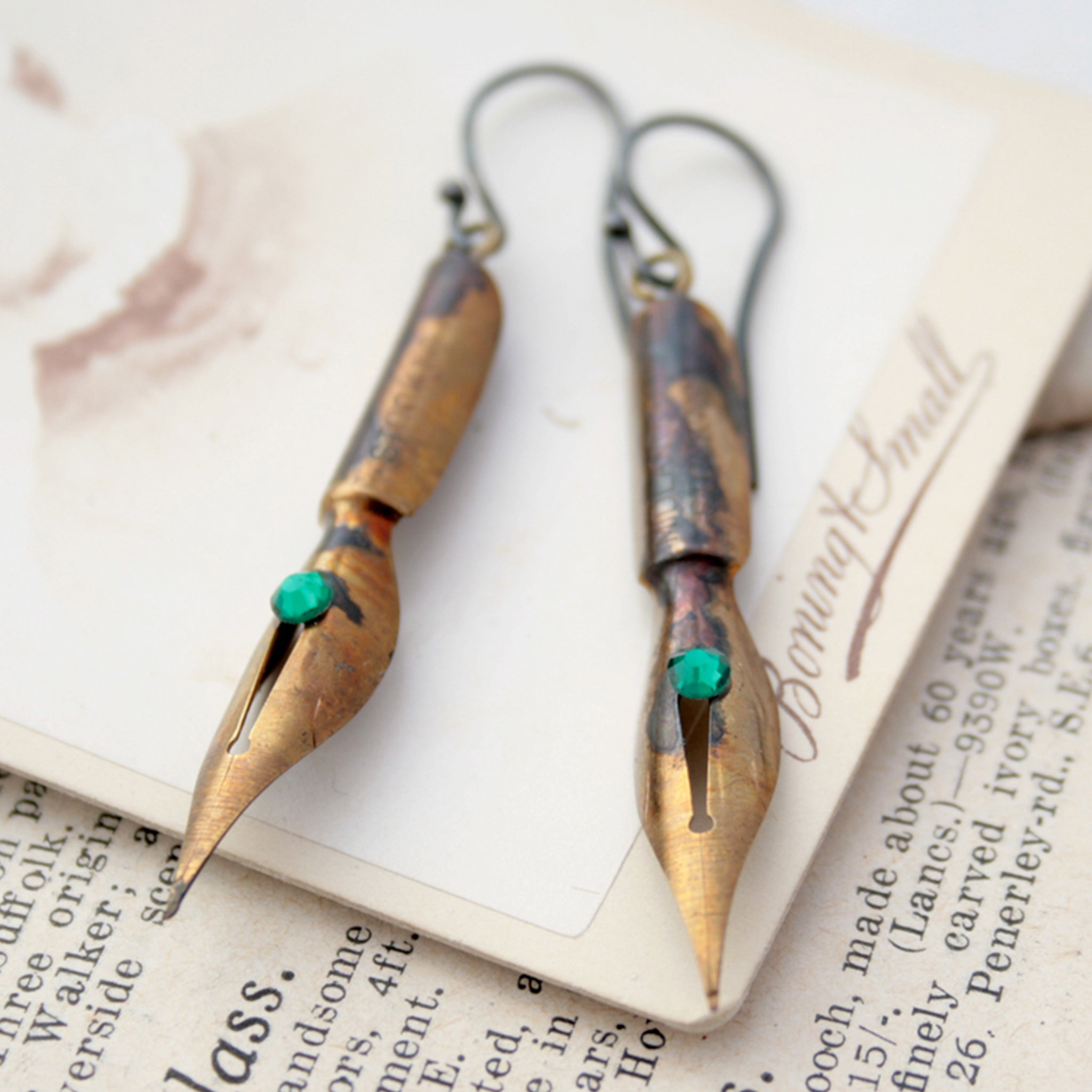 Birthstone Earrings made of antique Gold Pen Nibs
