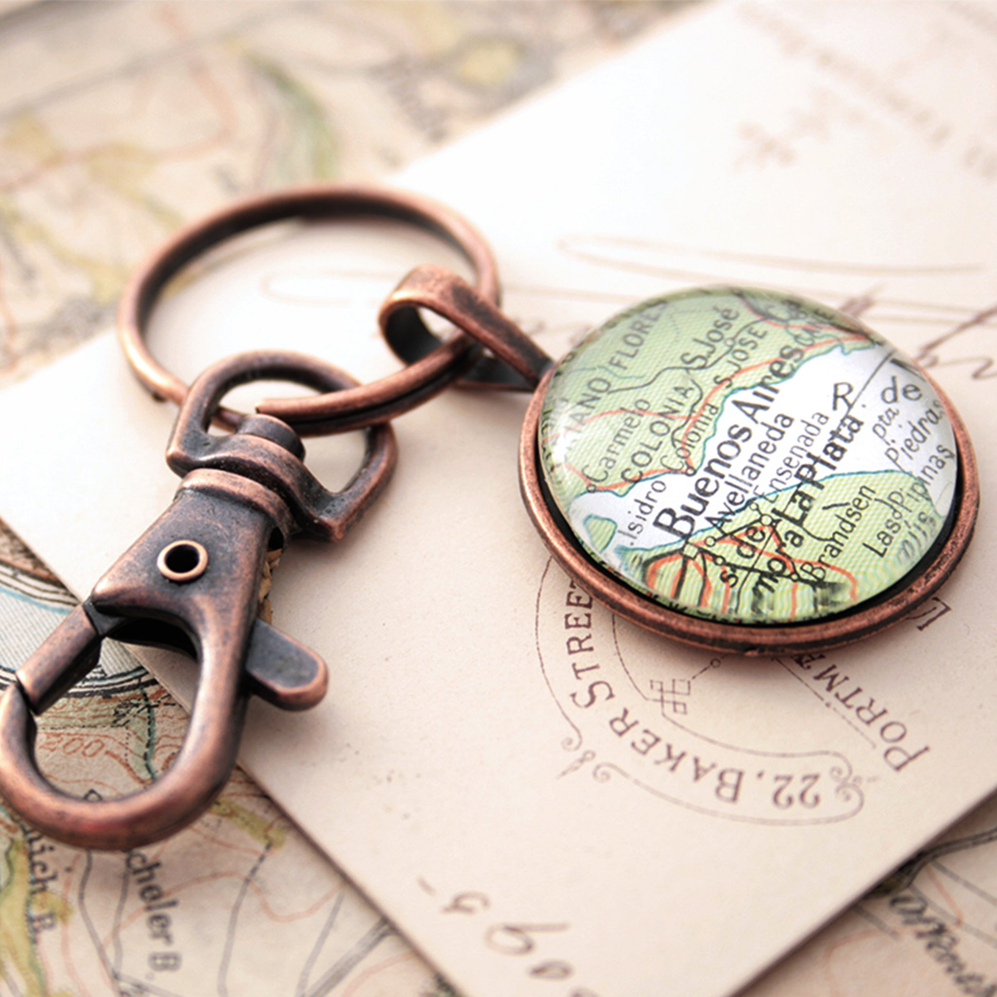 Copper keychain featuring map of Buenos Aires