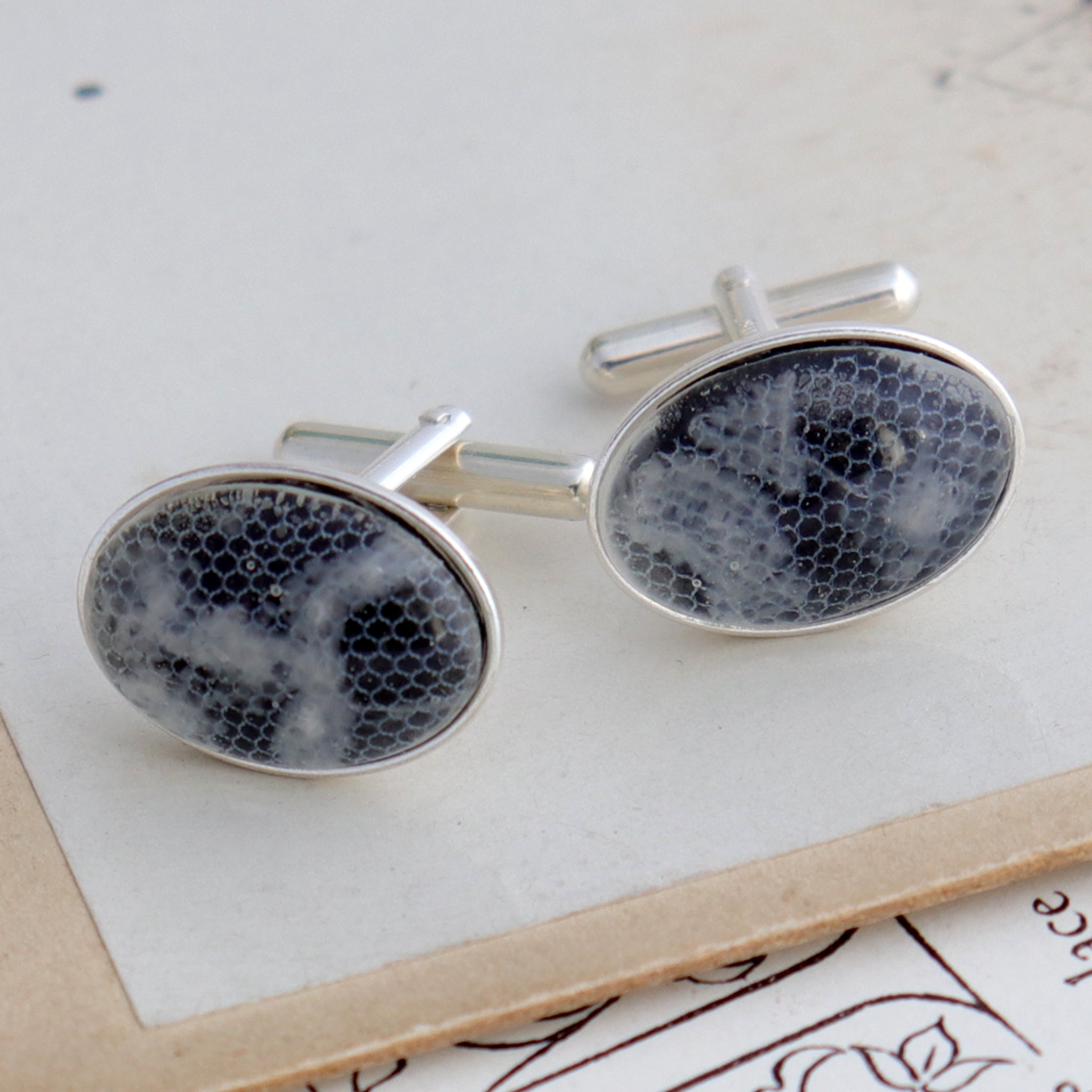 Sterling silver cufflinks with resin beads featuring lace from a bride's wedding dress