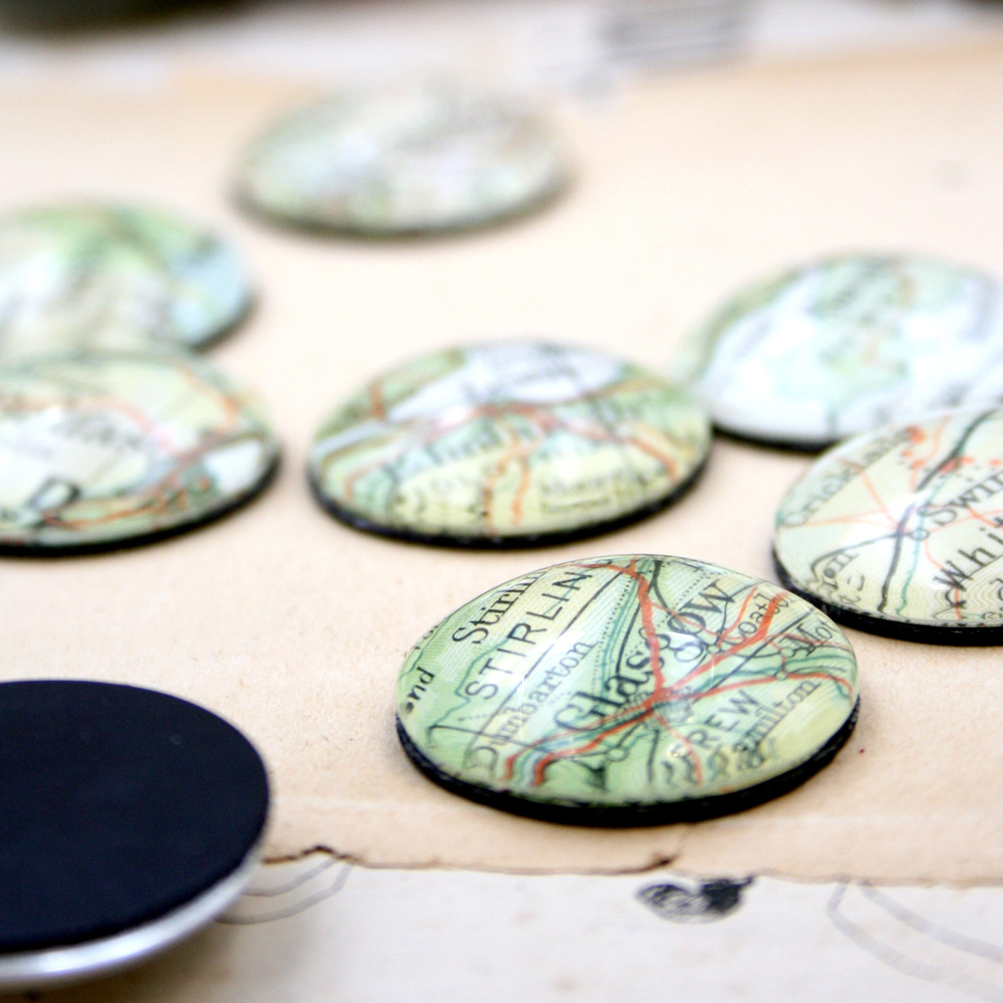 fridge magnet personalised with geographical maps of custom locations