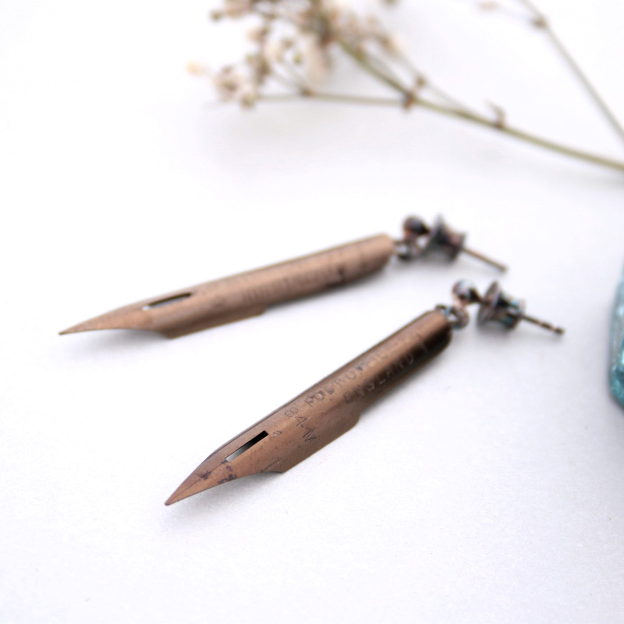 Funky Bronze Pen Nib Earrings