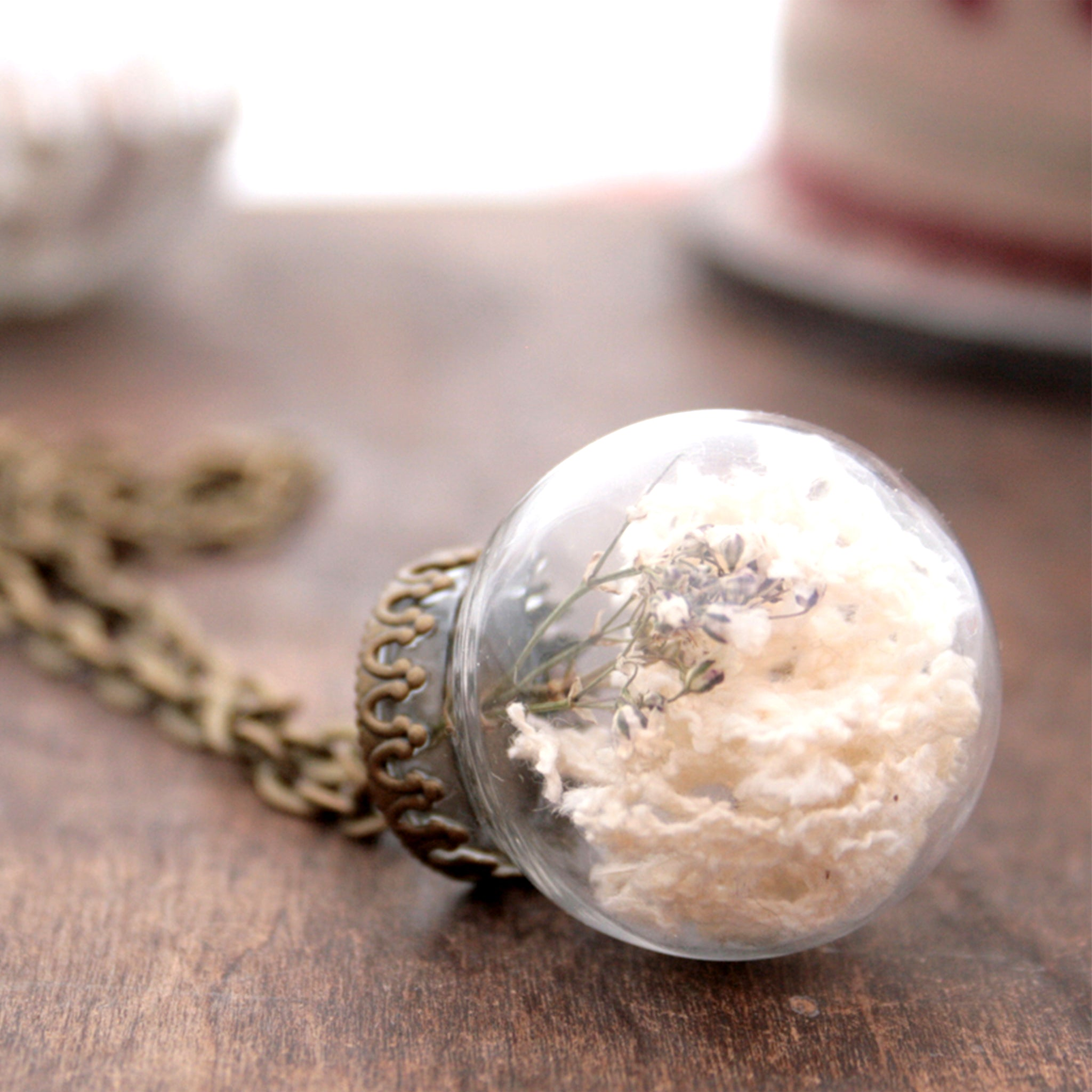 Rustic Terrarium Necklace with Dried Flowers
