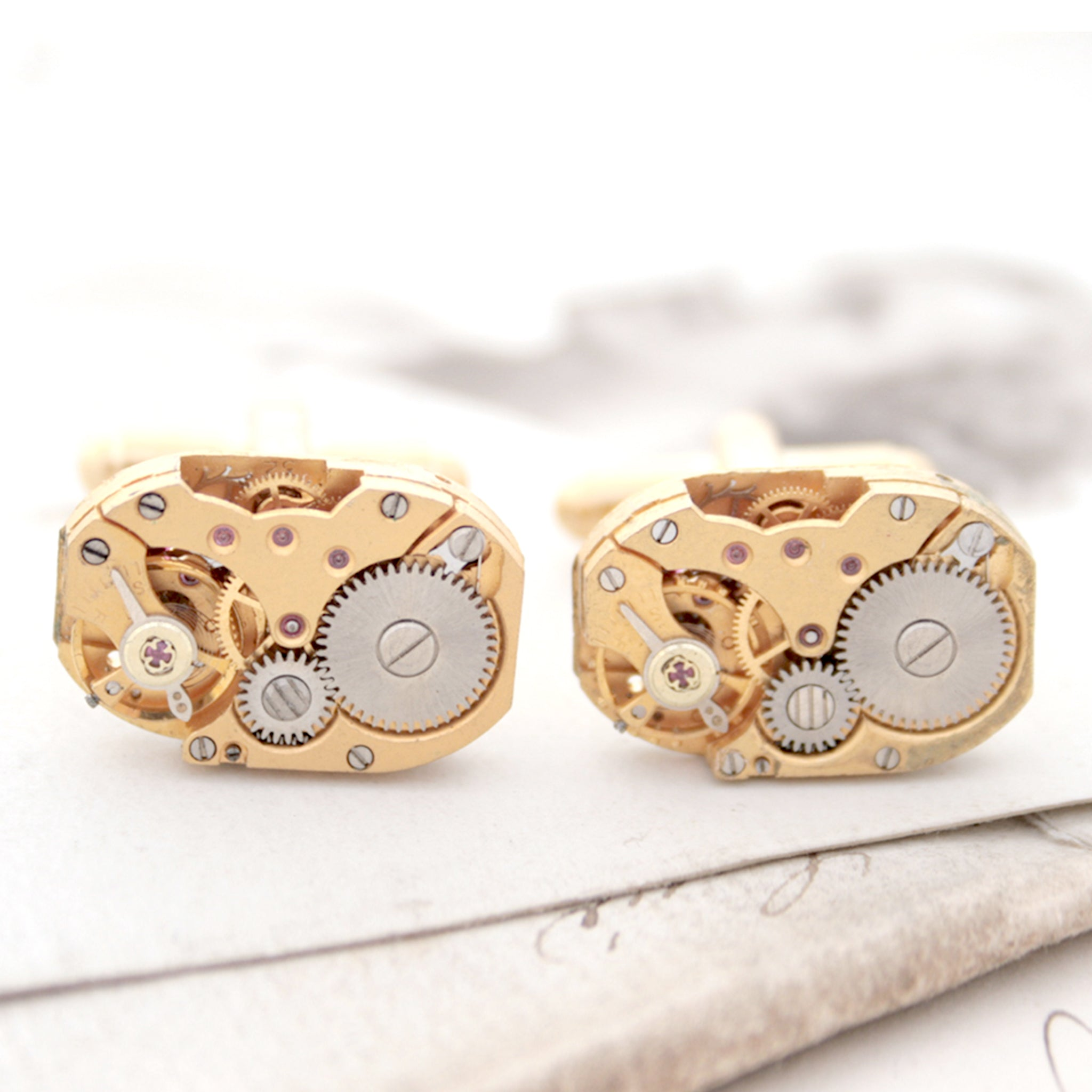 Watch Cufflinks in Gold Tone in Steampunk Style