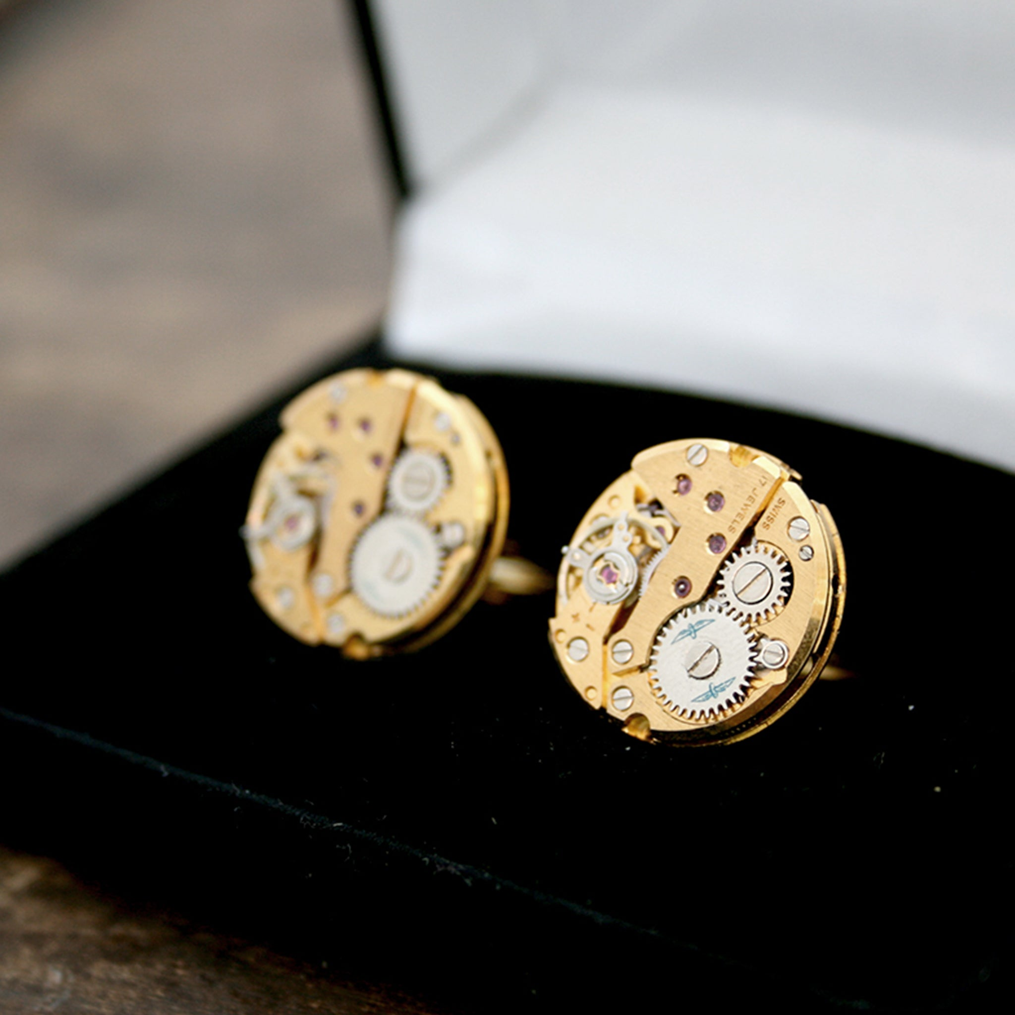 Real Watch Cufflinks in Gold Tone