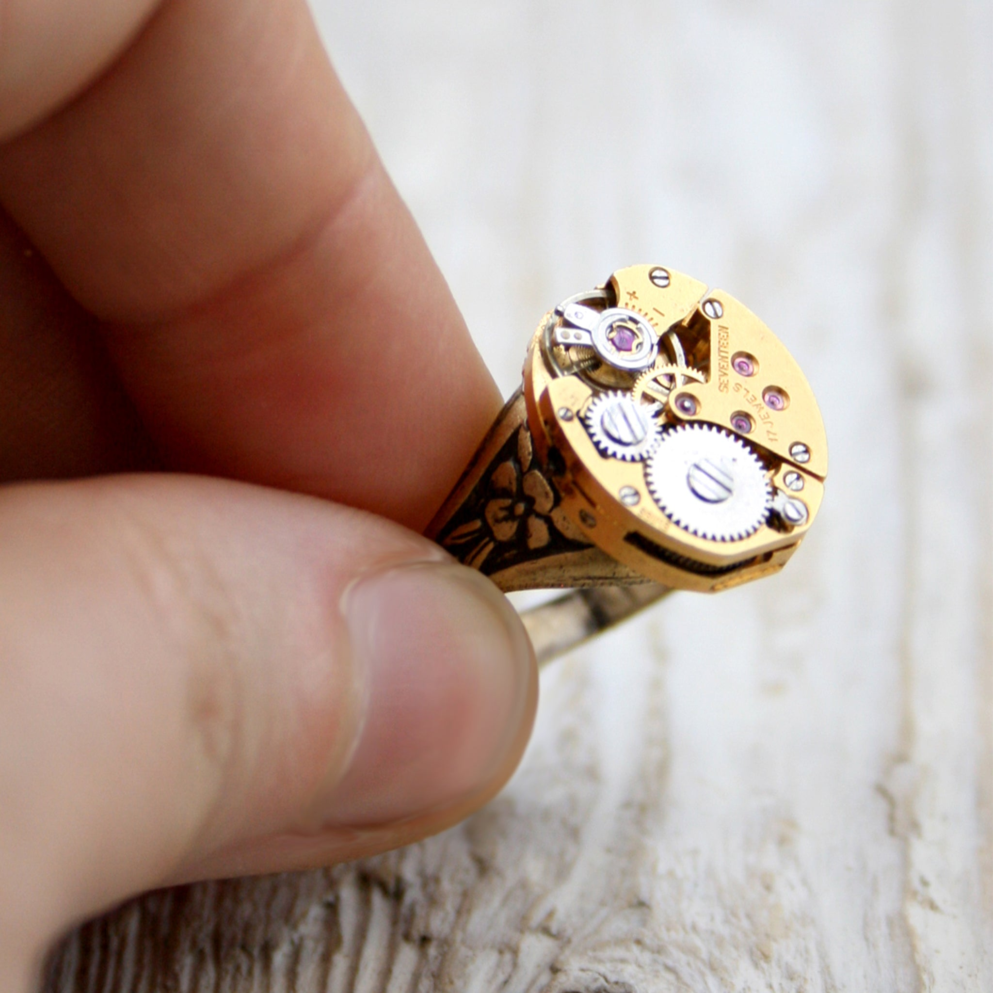 Gold Signet Pinky Ring in steampunk style made of watch inside