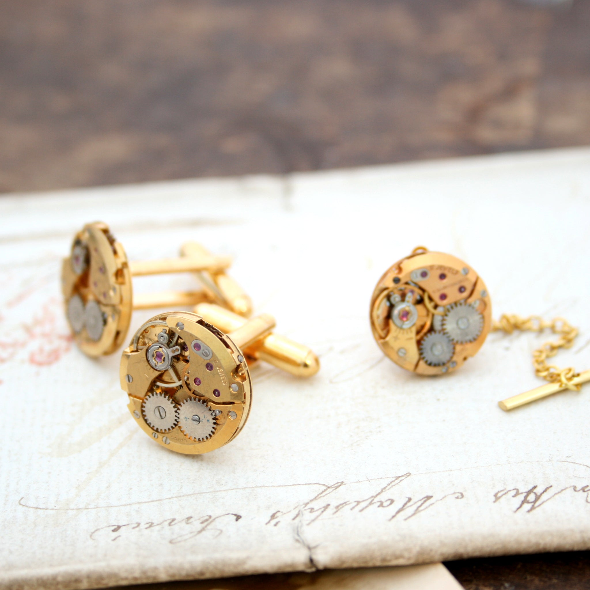 Gold Tie Tack and Cufflinks Steampunk Set