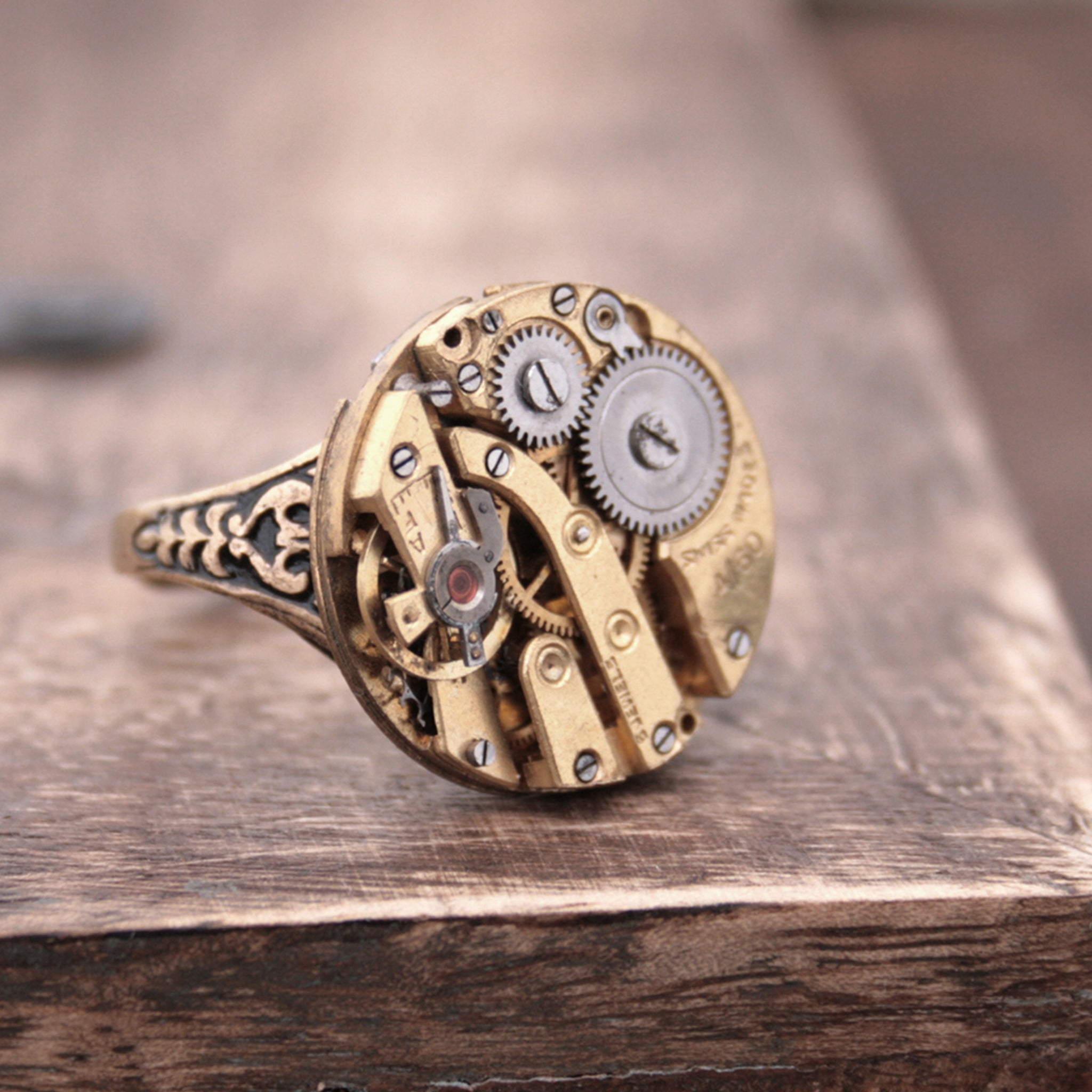 Golden Gothic Signet Ring