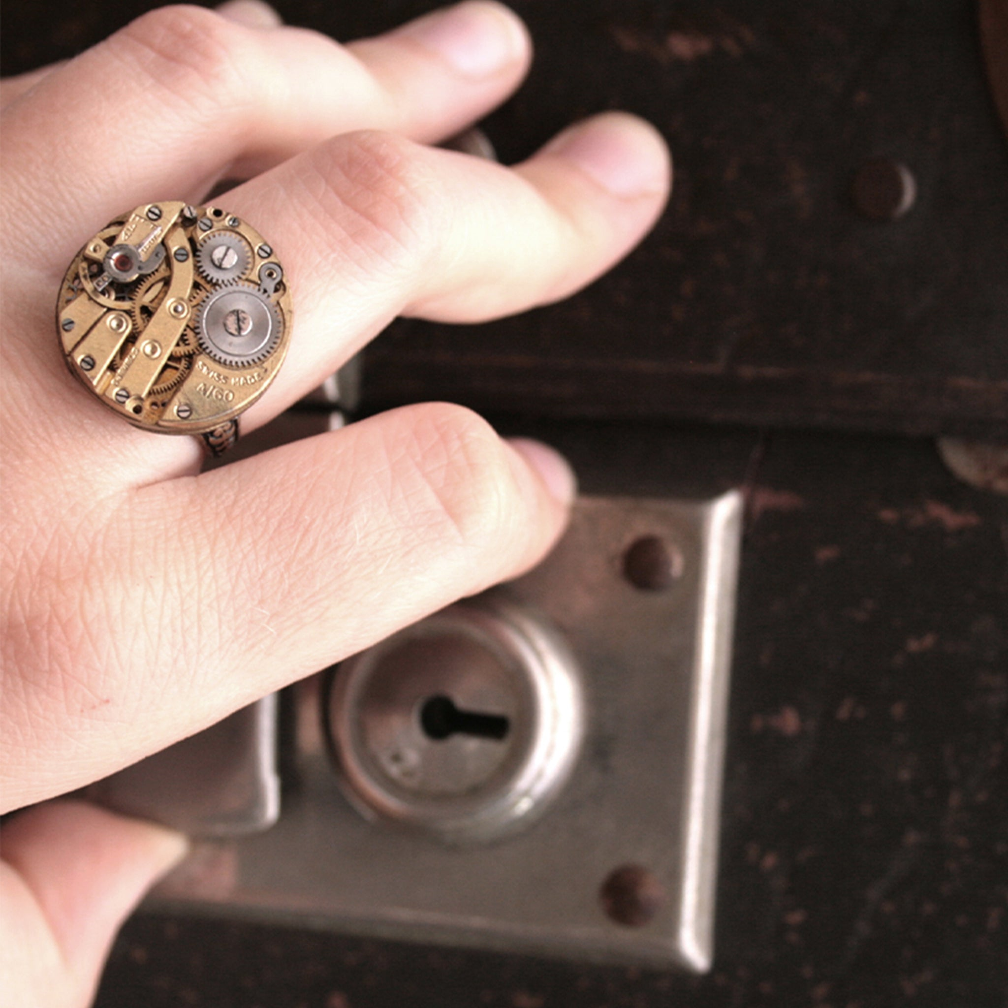 Golden Gothic Signet Ring on hand