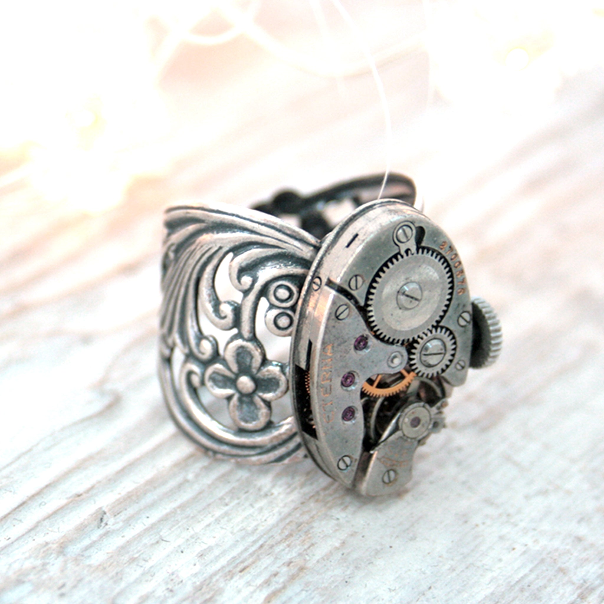 Gothic Ring with Floral Maxi Band