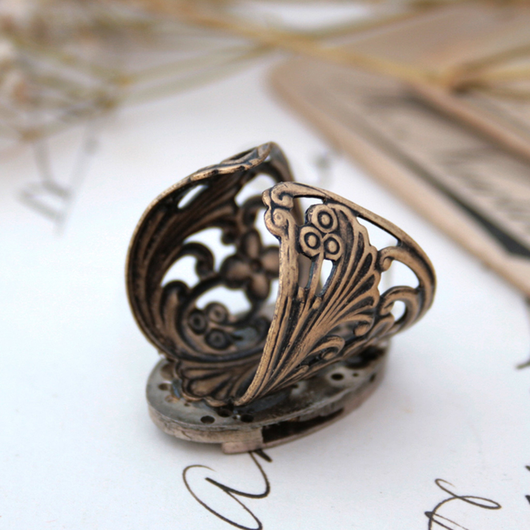 Gothic Ring with Bronze Floral Maxi Band