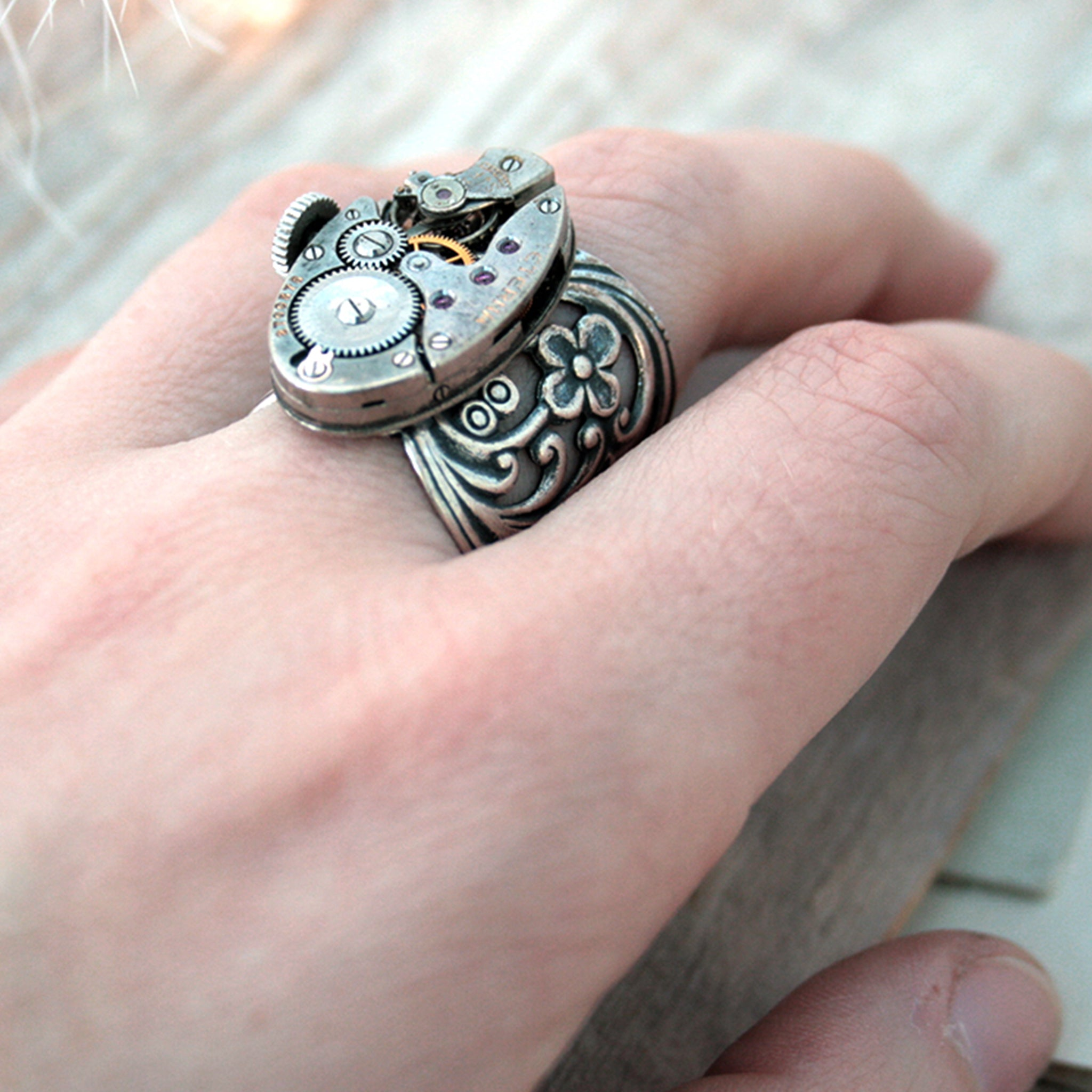 Gothic Ring with Floral Maxi Band on hand