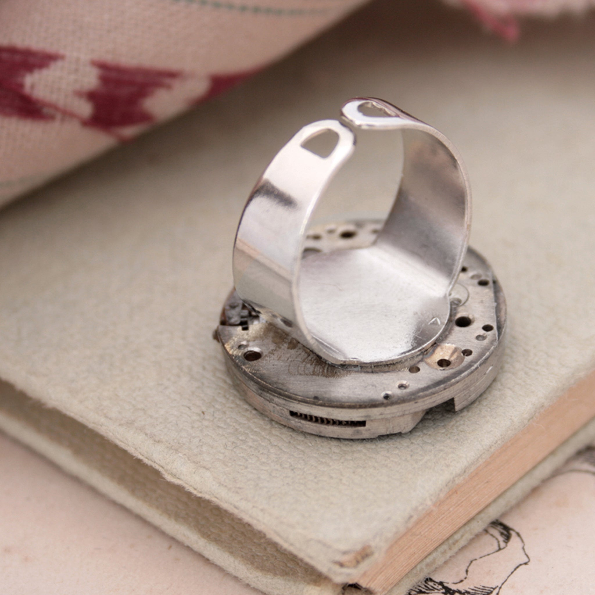 Adjustable Gothic Ring with Watch Movement
