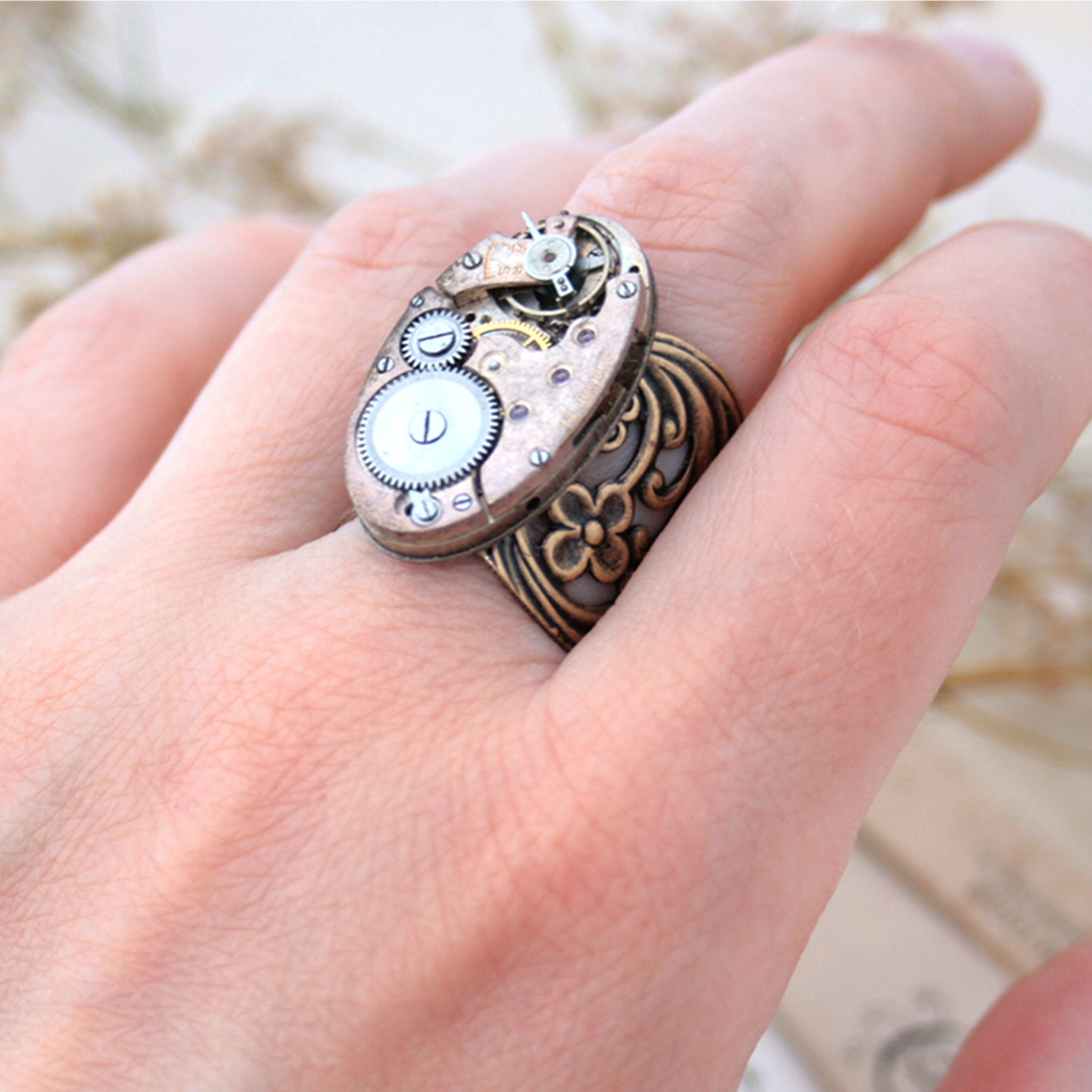 Gothic Ring with Bronze Floral Maxi Band on hand