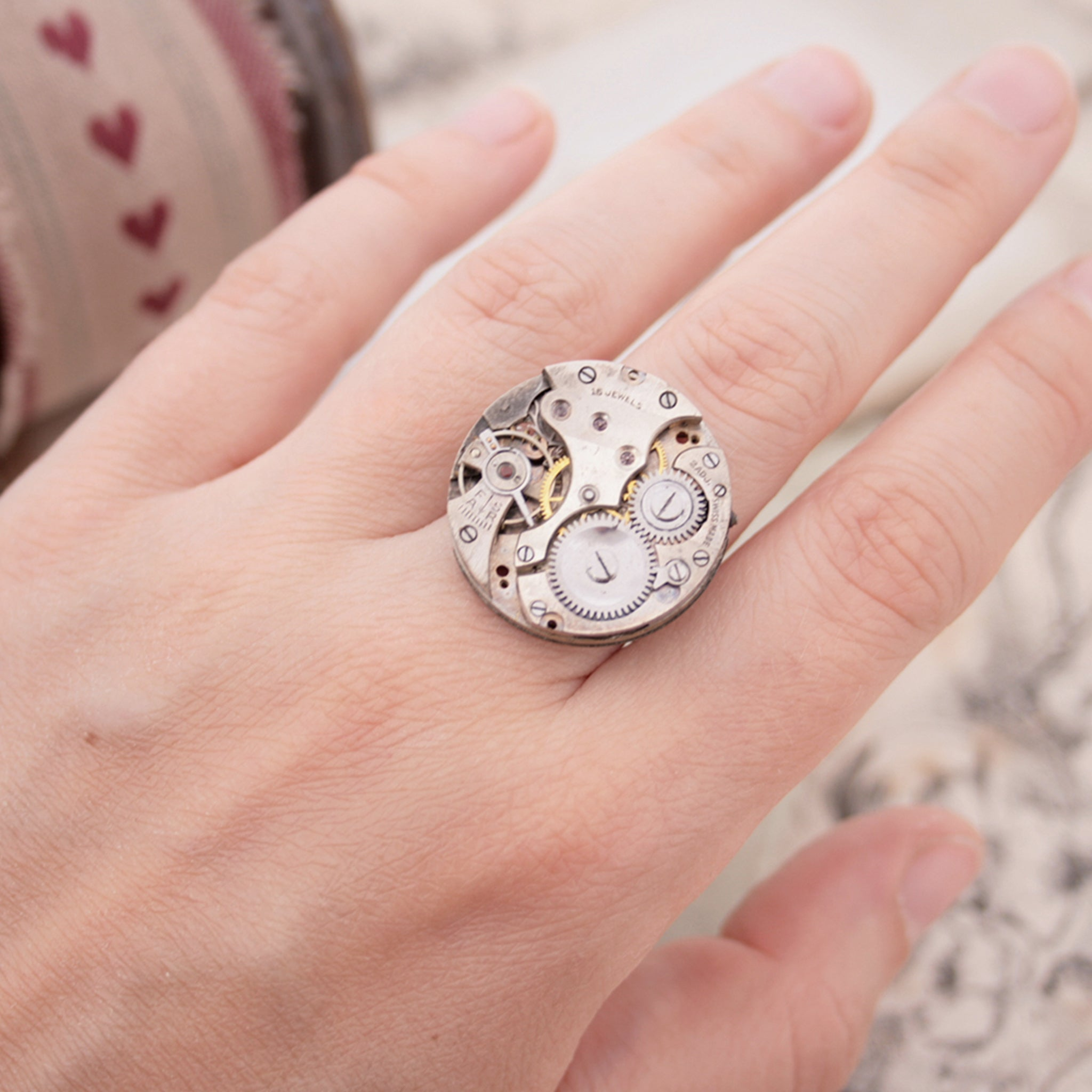 Gothic Ring with Watch Movement on a Hand