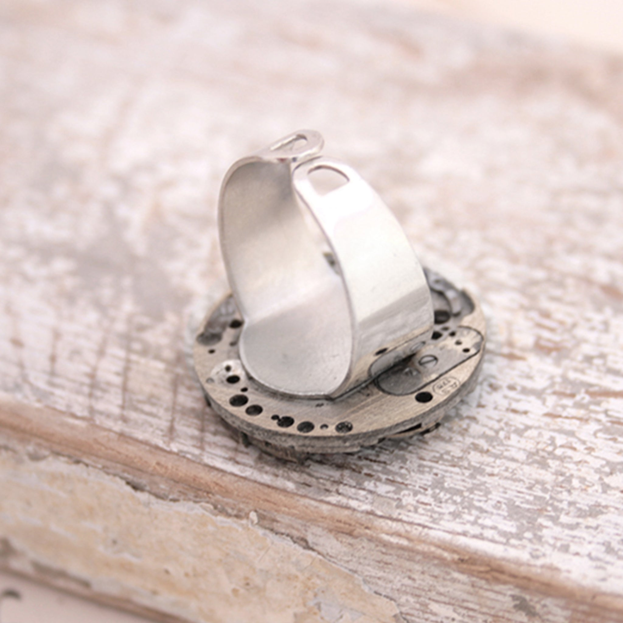 Adjustable Gothic Ring in Old Silver made of watch mechanism